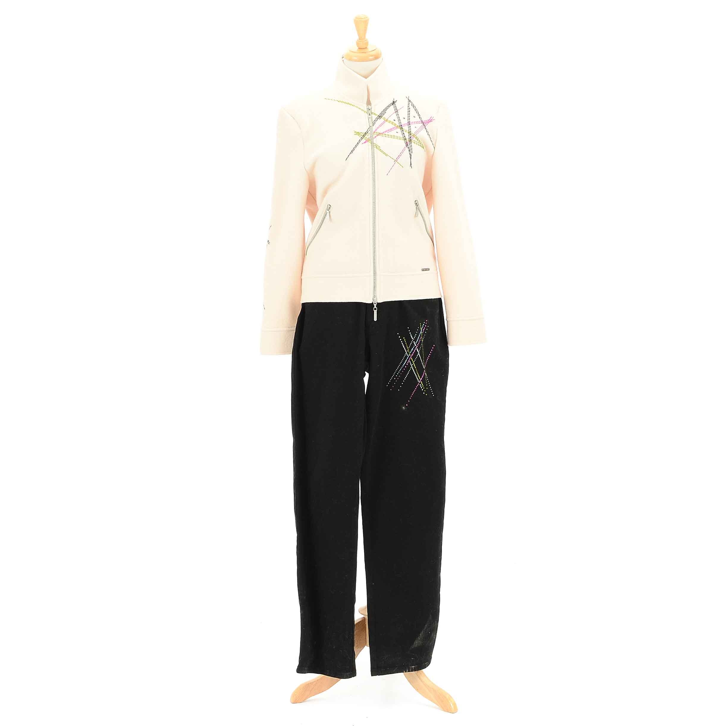 Women's Geiger Ivory Bomber Jacket  and Black Jeans