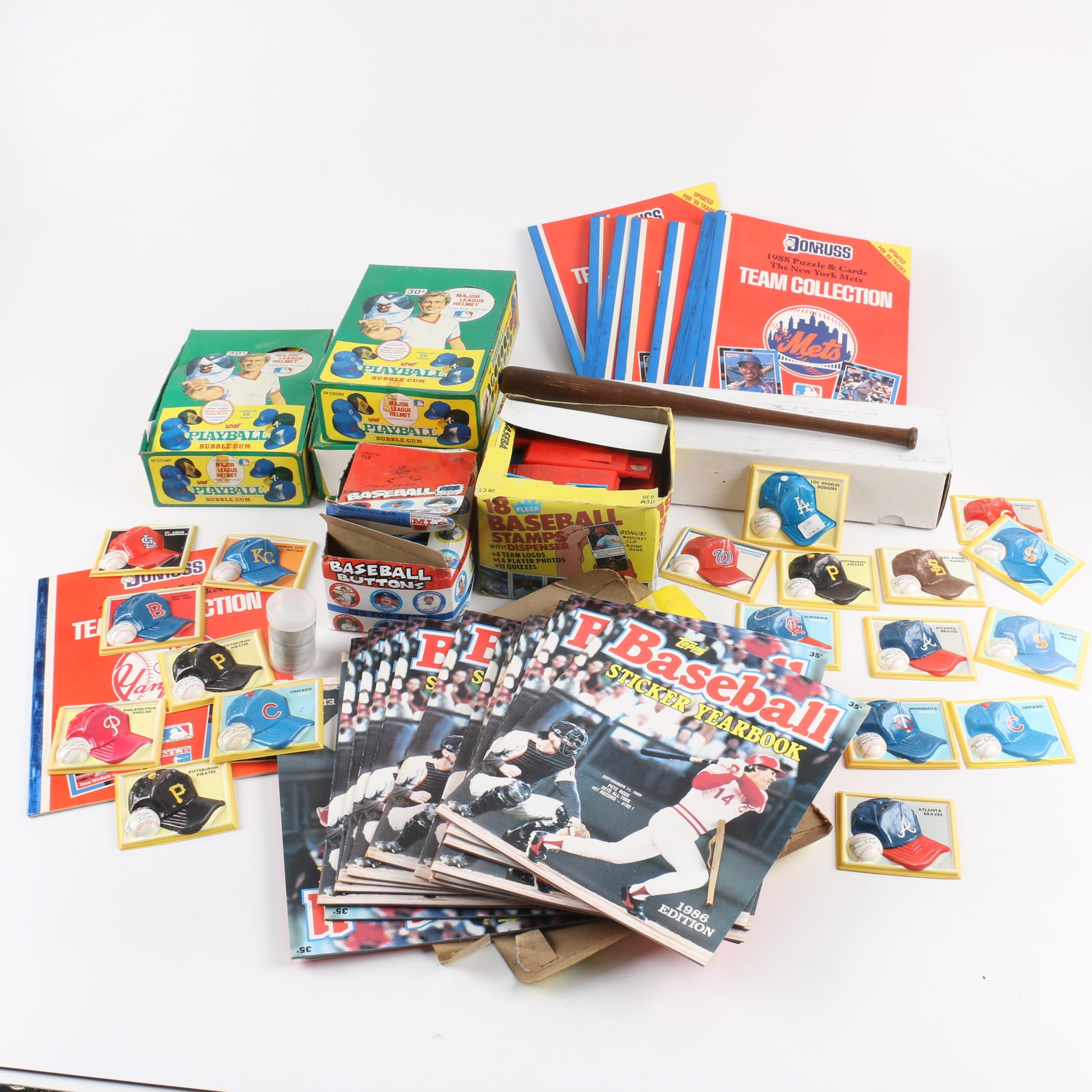 Baseball Memorabilia including Topps Sticker Yearbooks and Fleer Stamp Sets