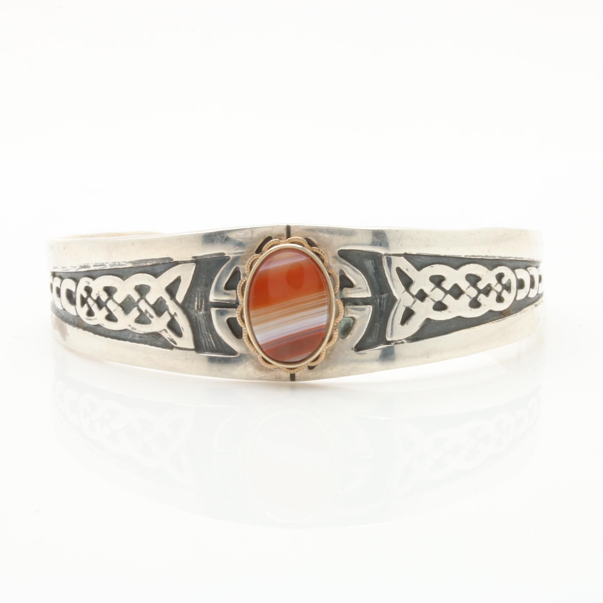 Sterling Silver Southwestern Style Agate Cuff Bracelet