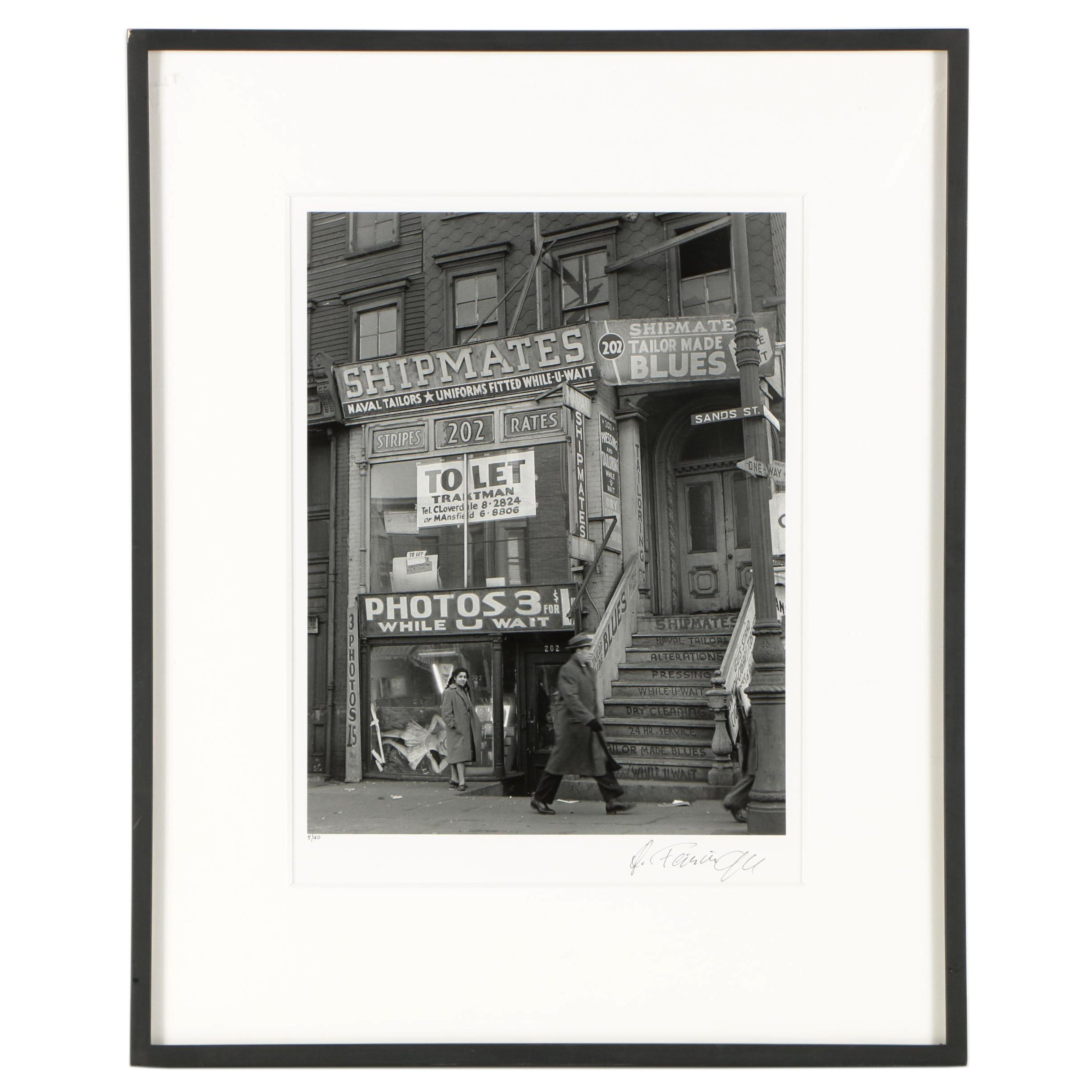 "Andreas Feininger Black and White Photograph ""Sands Street, Brooklyn"""