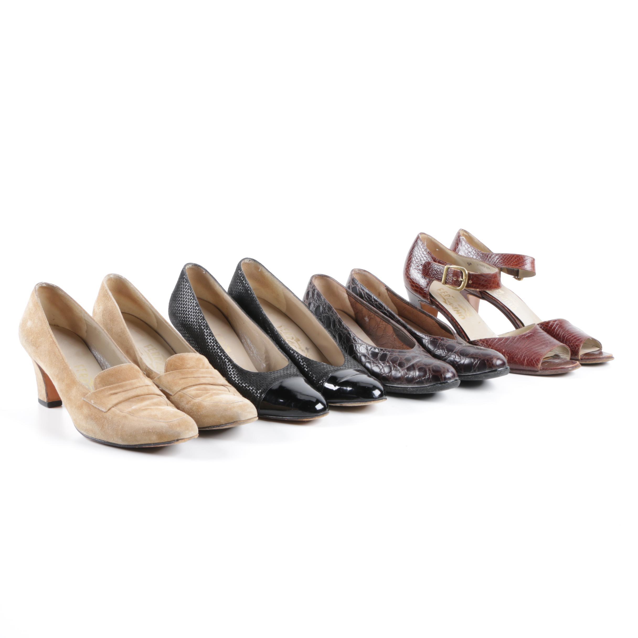Women's Salvatore Ferragamo Heels Including Embossed Leather