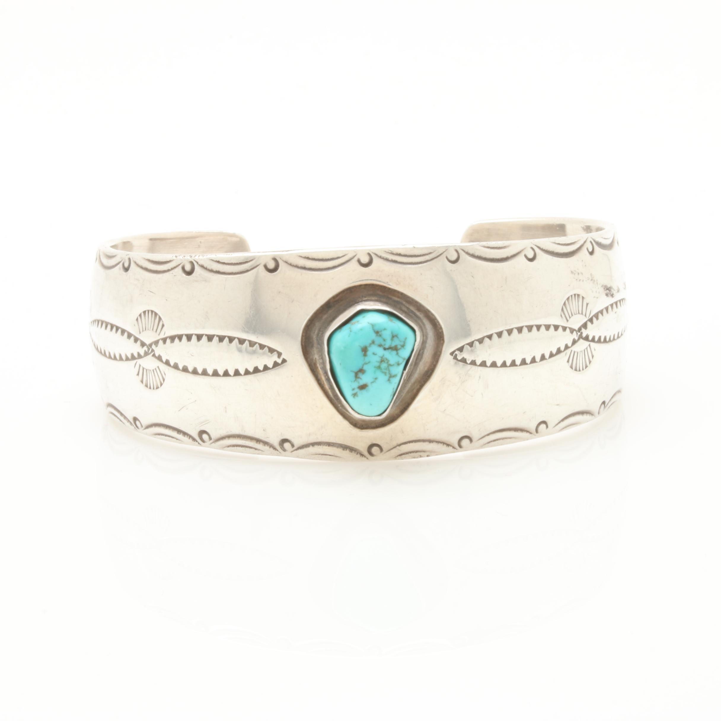 Elsie Yazzie Navajo Diné Sterling Silver Turquoise Bracelet