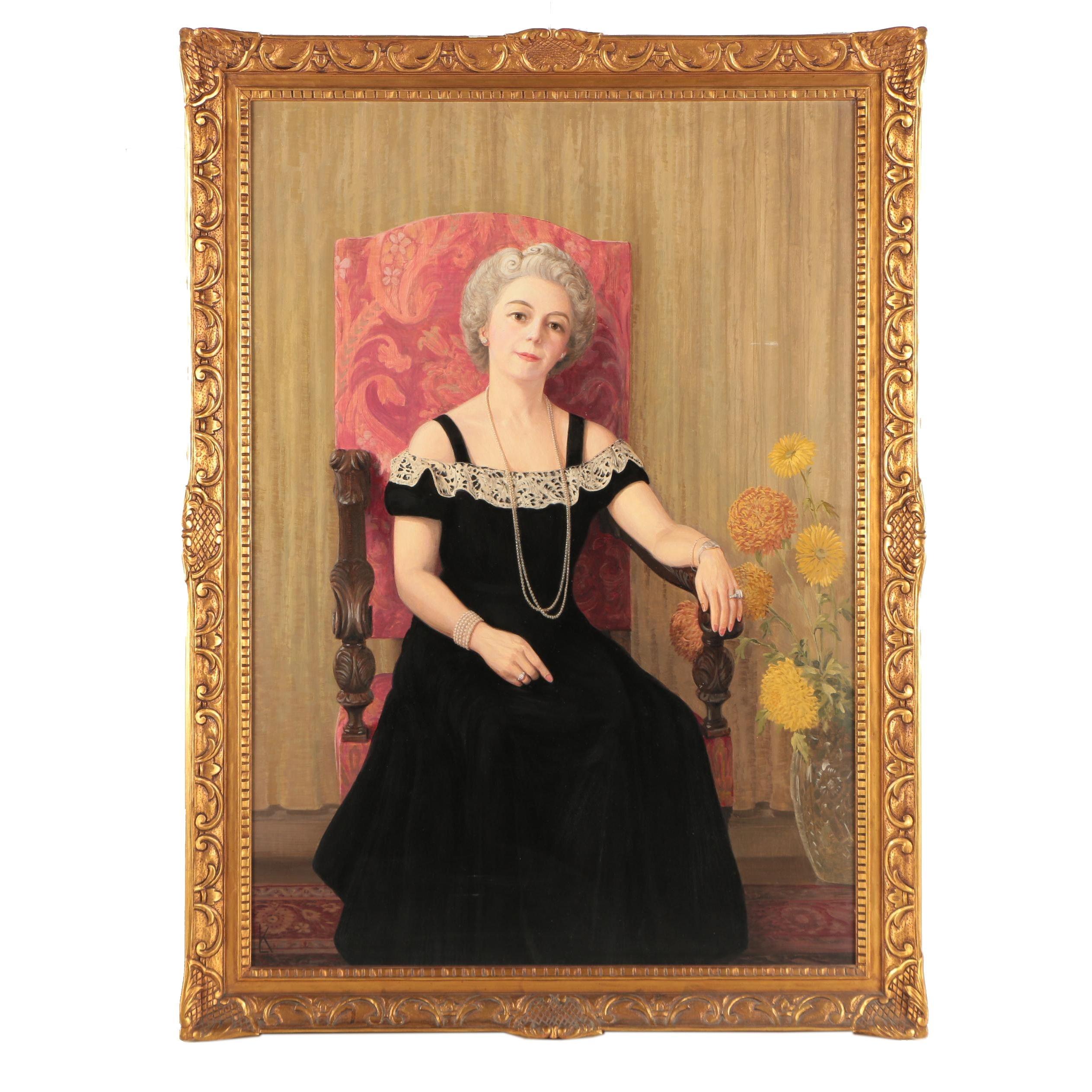 LK Oil Portrait Painting of a Woman