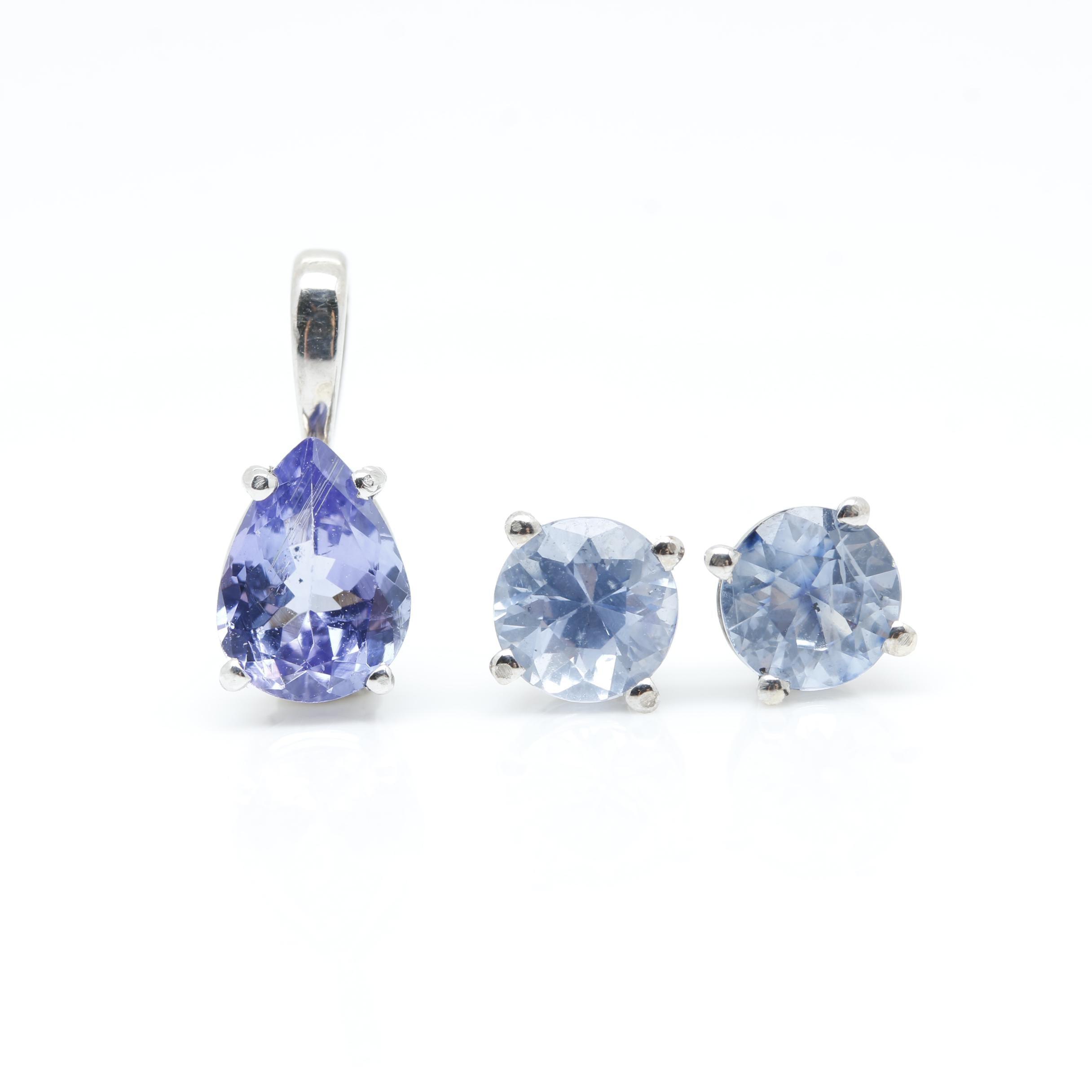 14K White Gold Sapphire Stud Earrings and Tanzanite Pendant