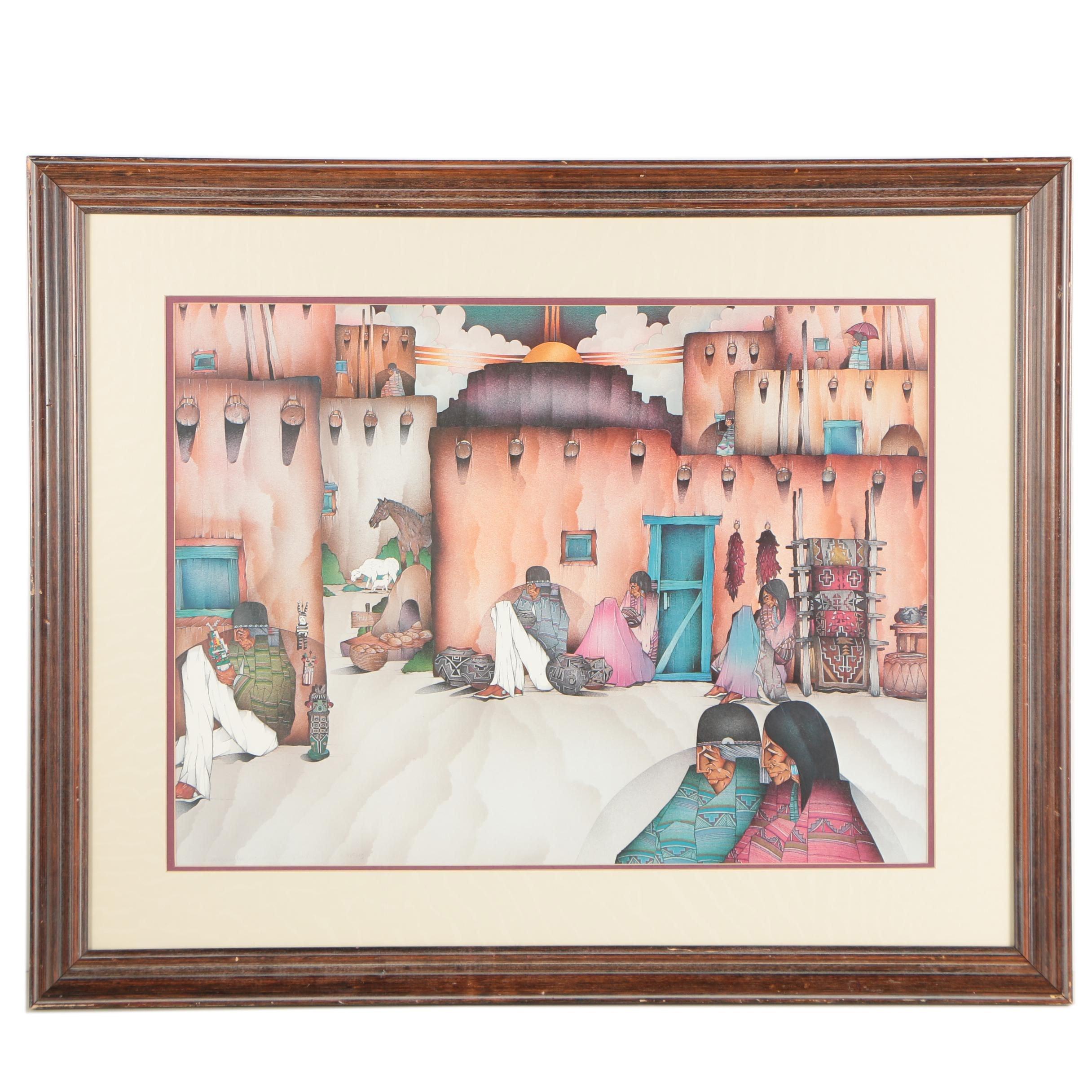 """Vintage Offset Lithograph Print After Amado Pena  """"El Sabado, Dia del Mercado"""""""
