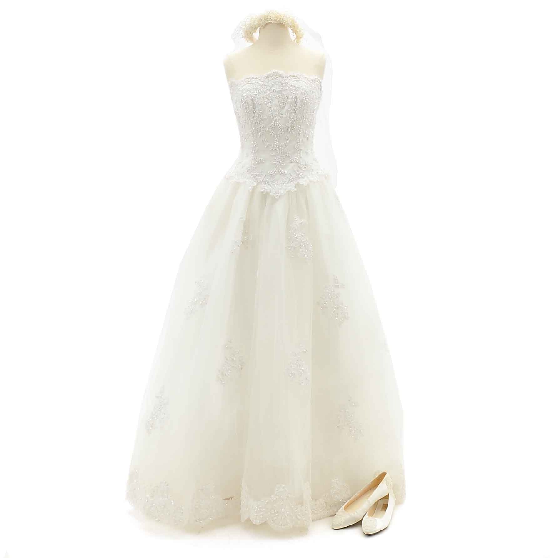 Vintage Wedding Dress, Shoes and House of Bianchi Veil