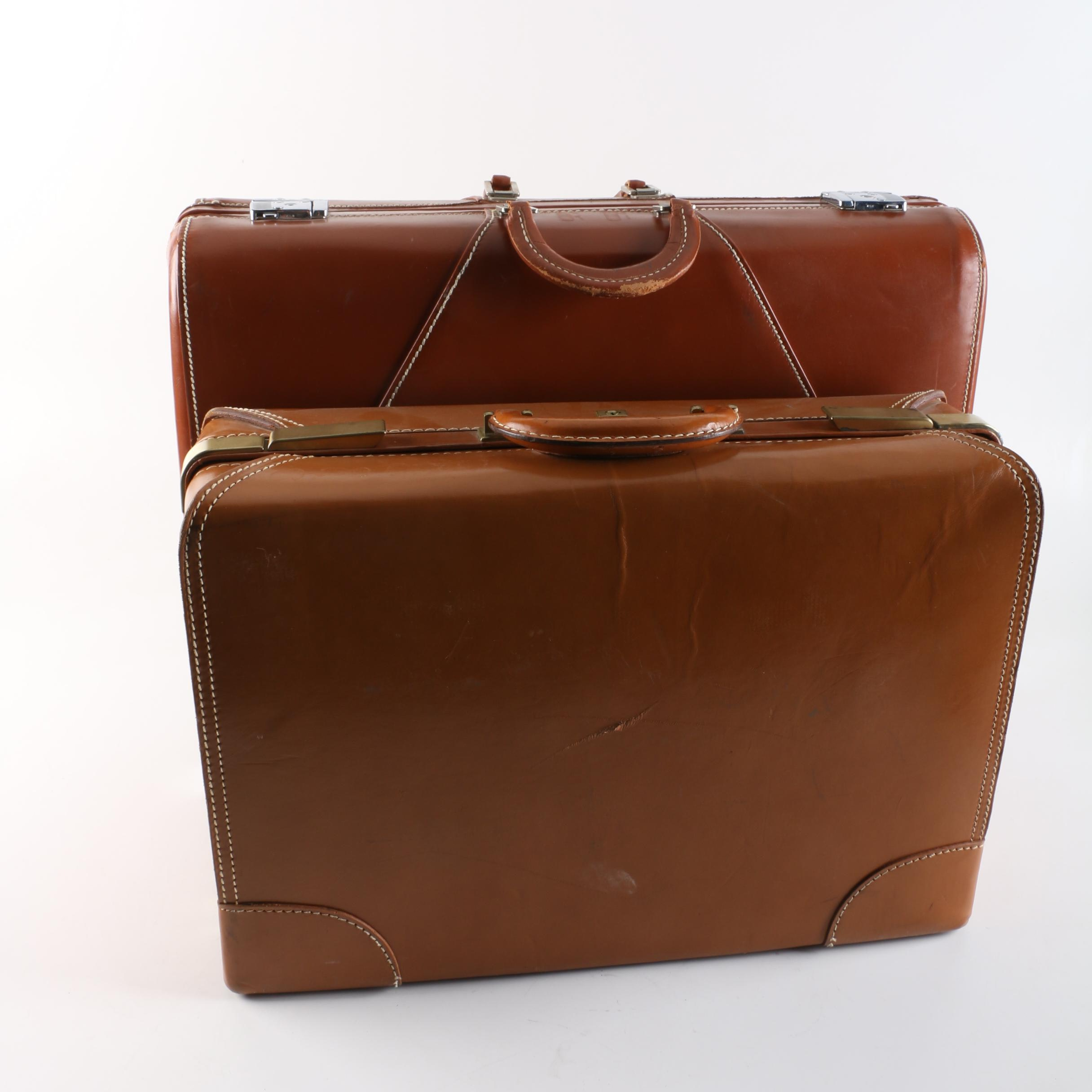 Vintage Leather Suitcases Including Wheary
