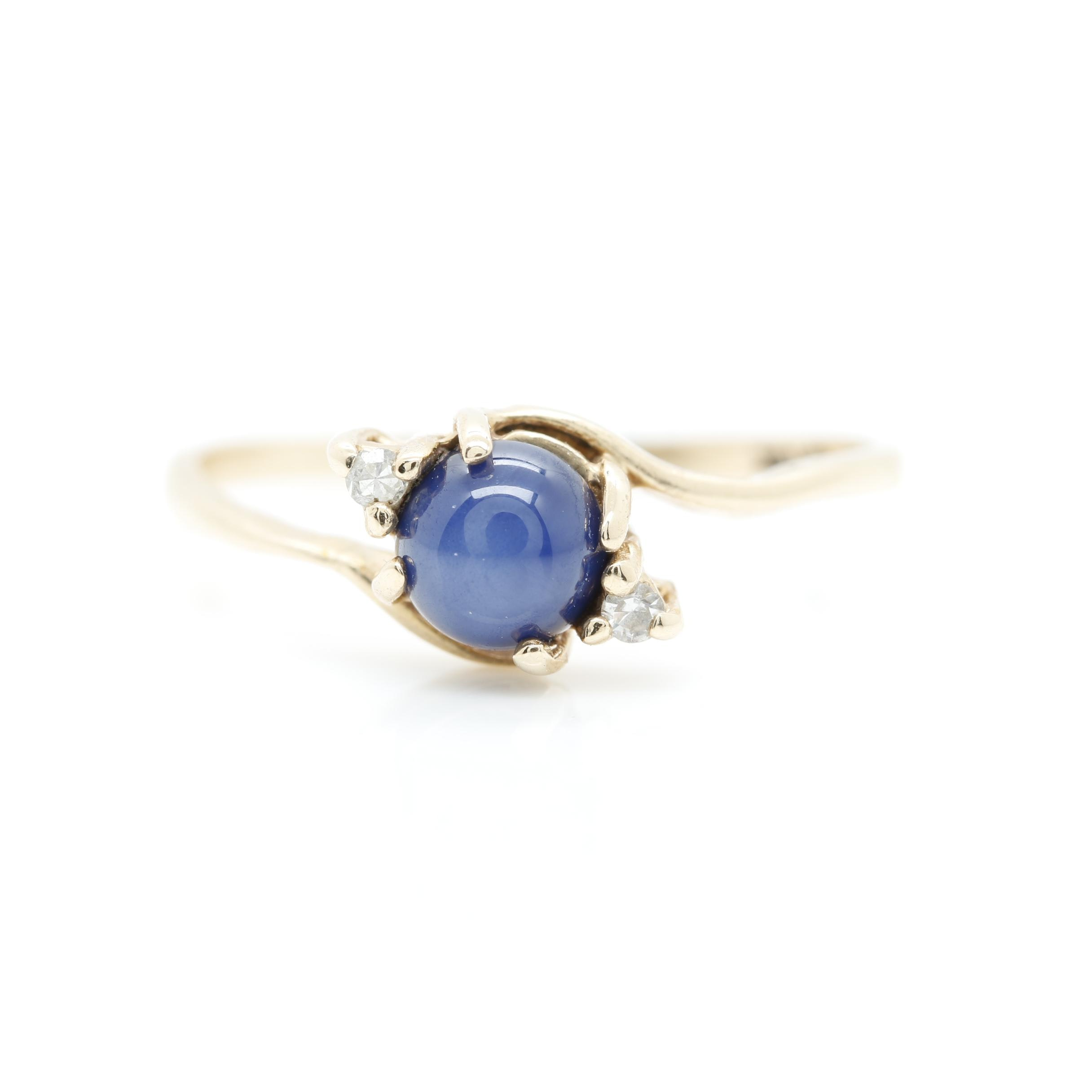 10K Yellow Gold Synthetic Star Sapphire and Diamond Ring