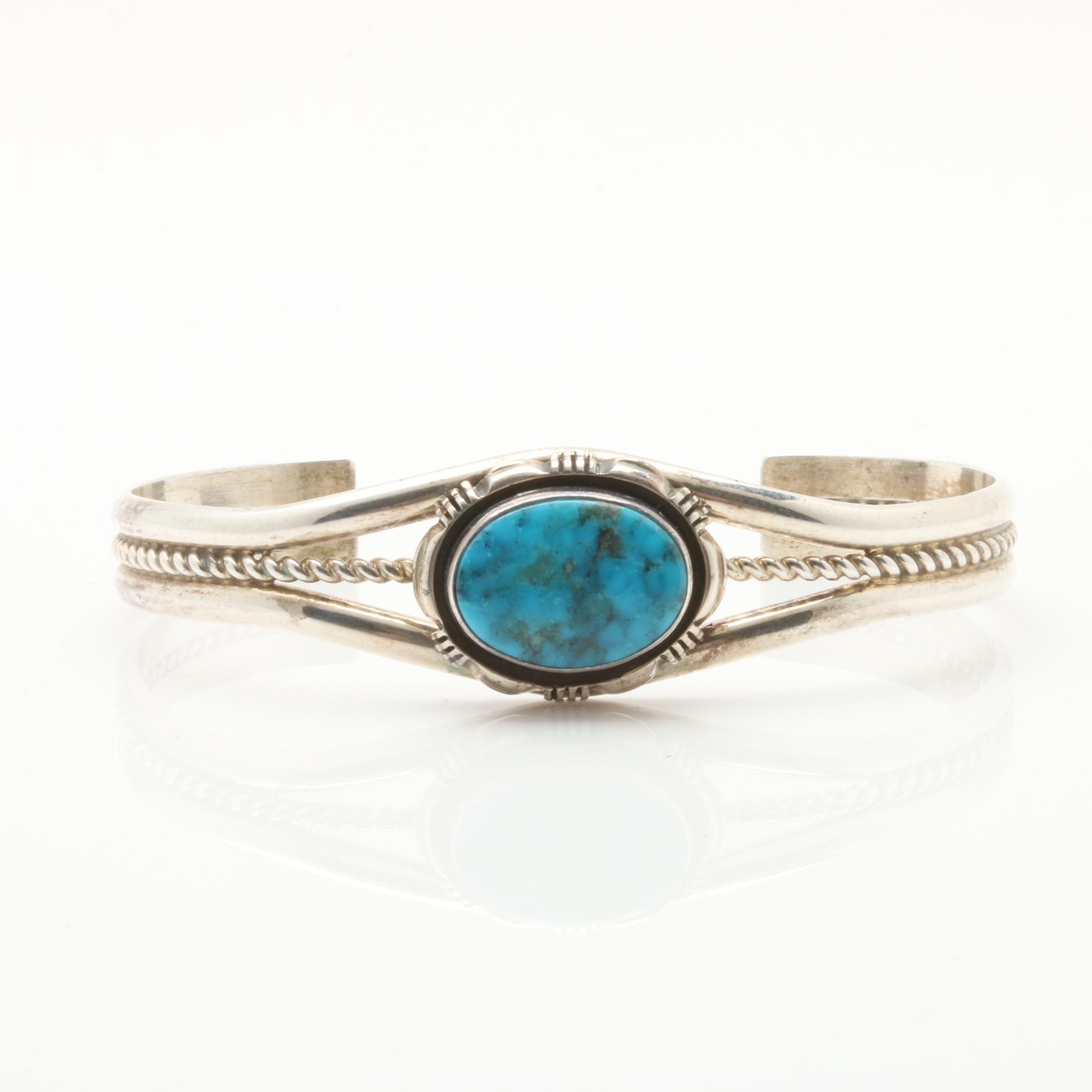 Leo Yazzie Navajo Diné Sterling Silver Turquoise Cuff