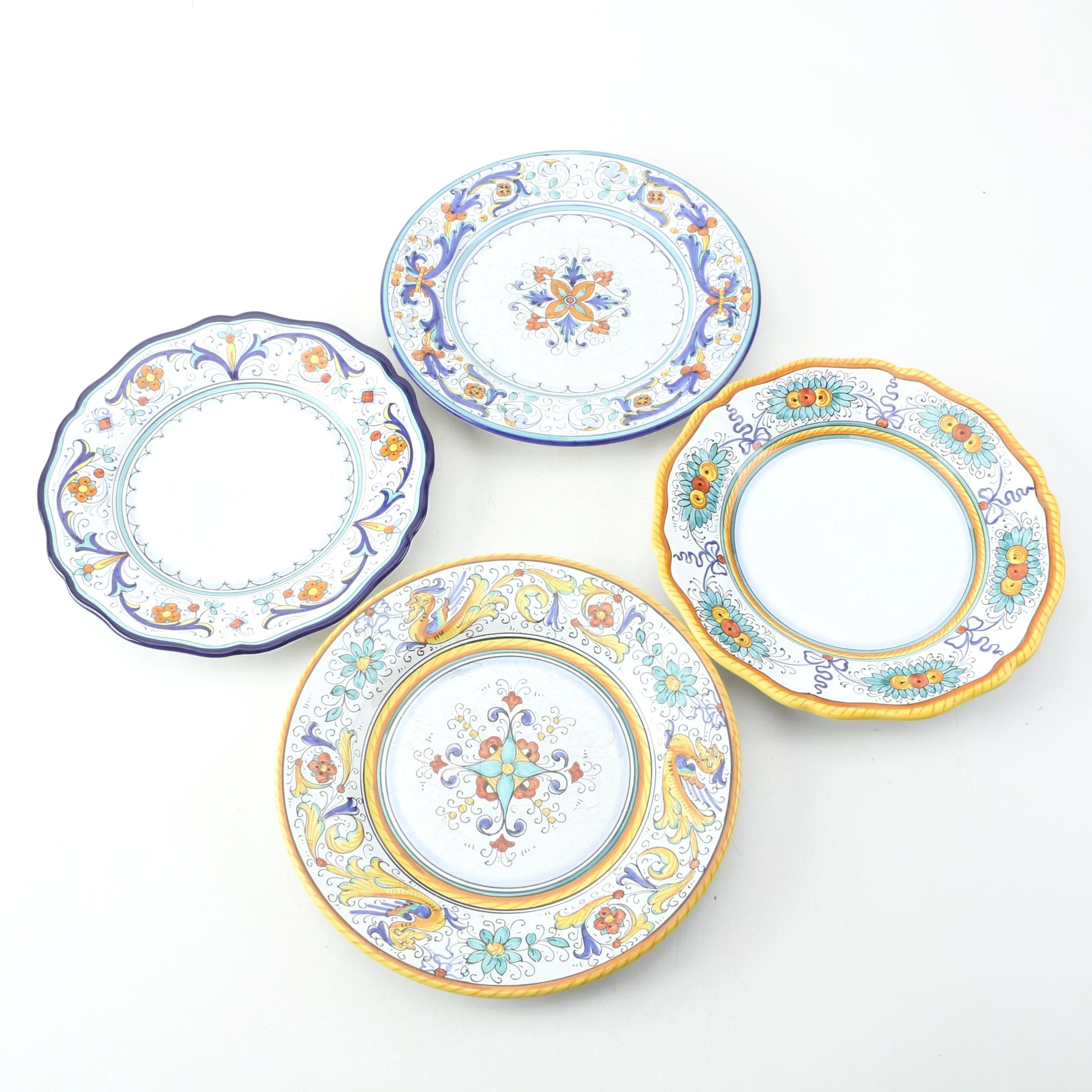 Nova Deruta Italian Hand Painted Earthenware Plates