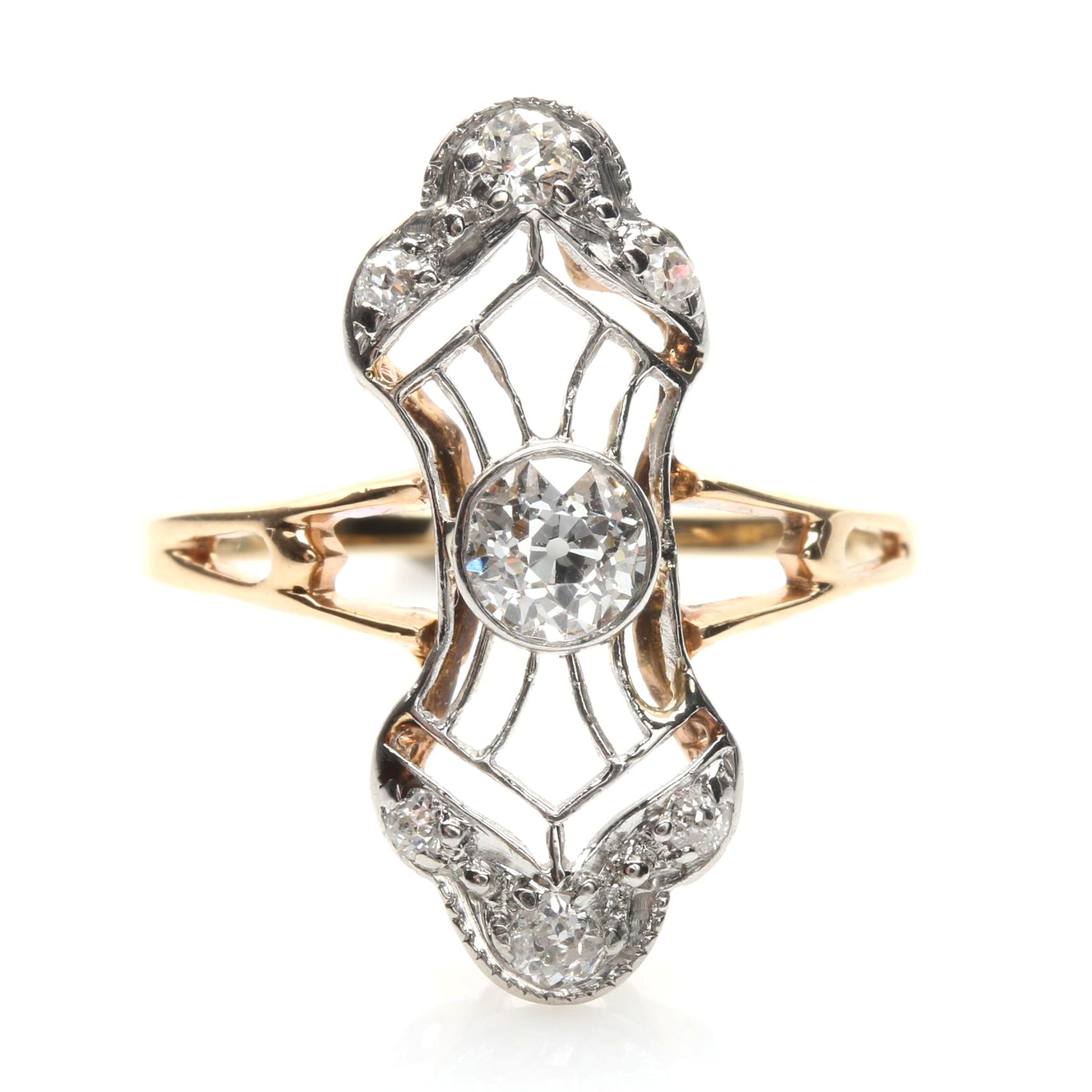 14K Yellow Gold Diamond Dinner Ring with Platinum Accents