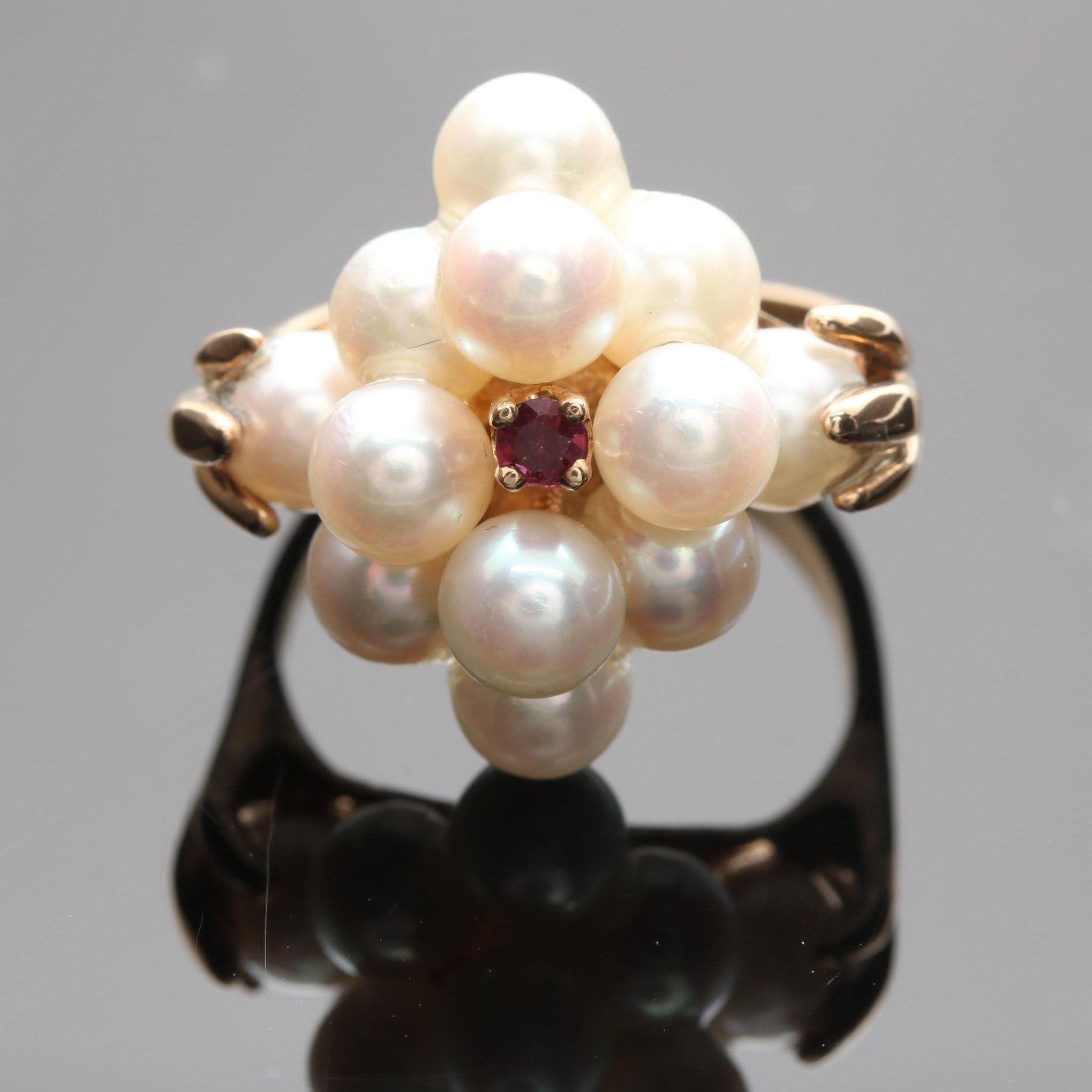 14K Yellow Gold Cultured Pearl and Ruby Ring