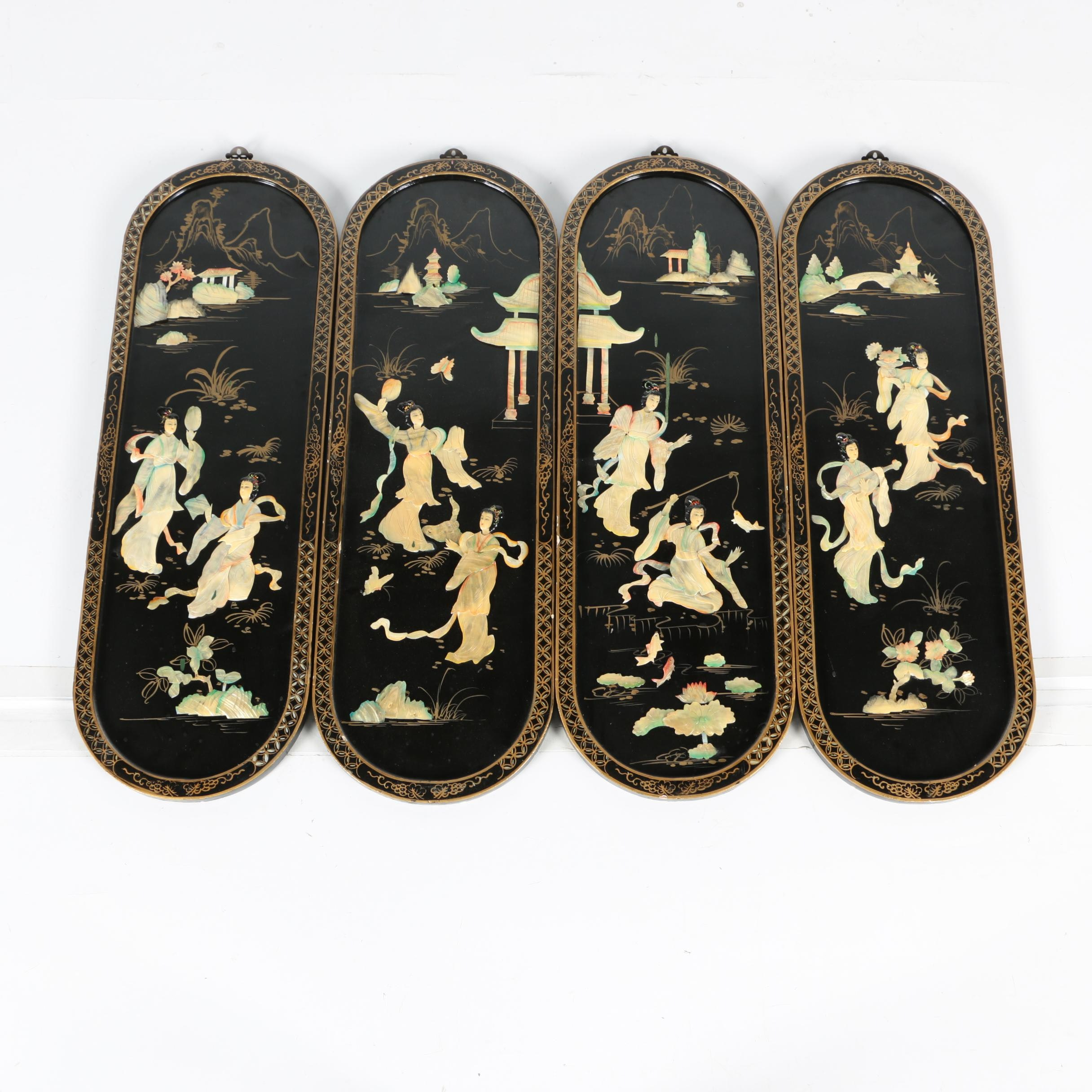 Vintage Chinese Shell Inlay Black Lacquer Hanging Screen