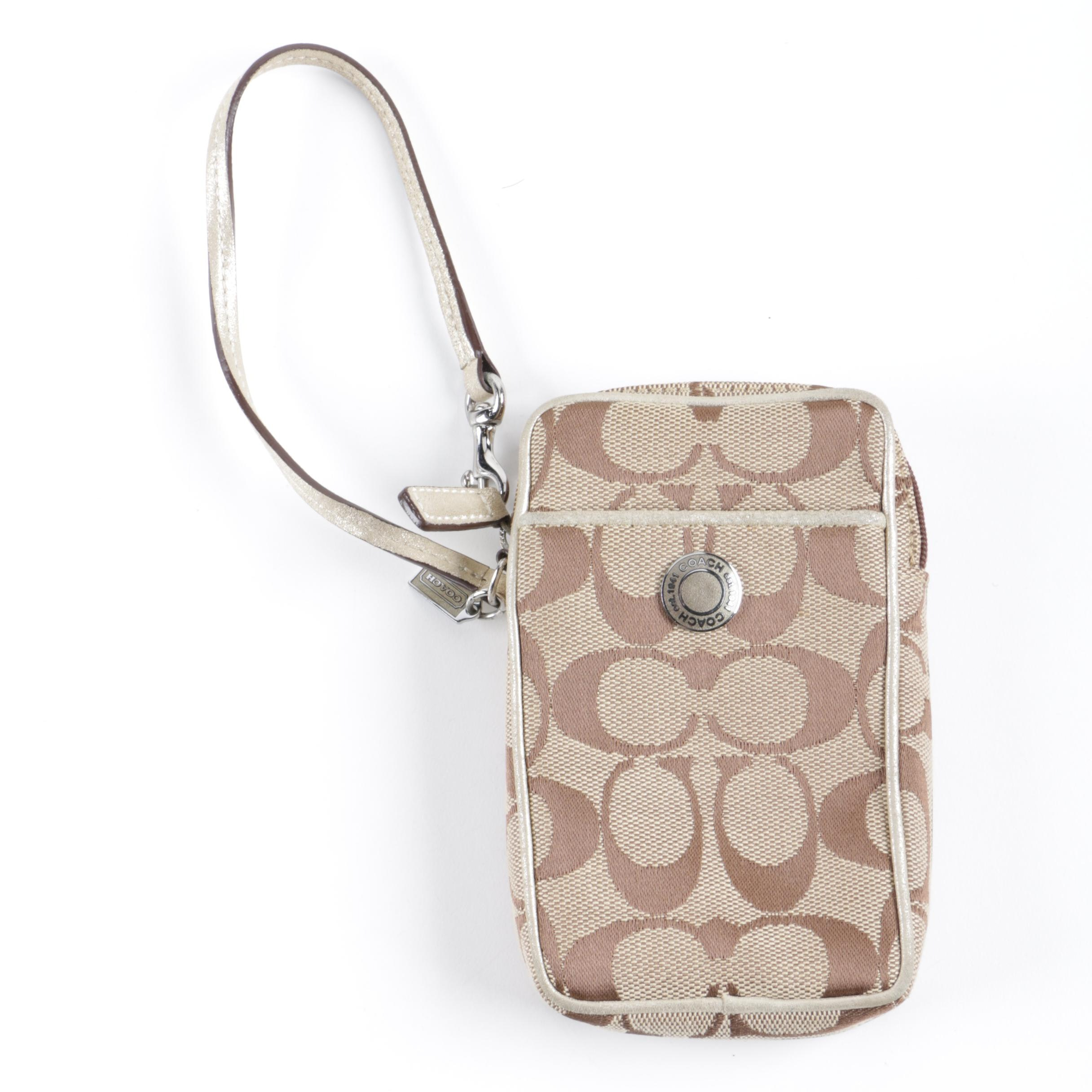 Coach Monogram Canvas and Leather Cell Phone Wristlet
