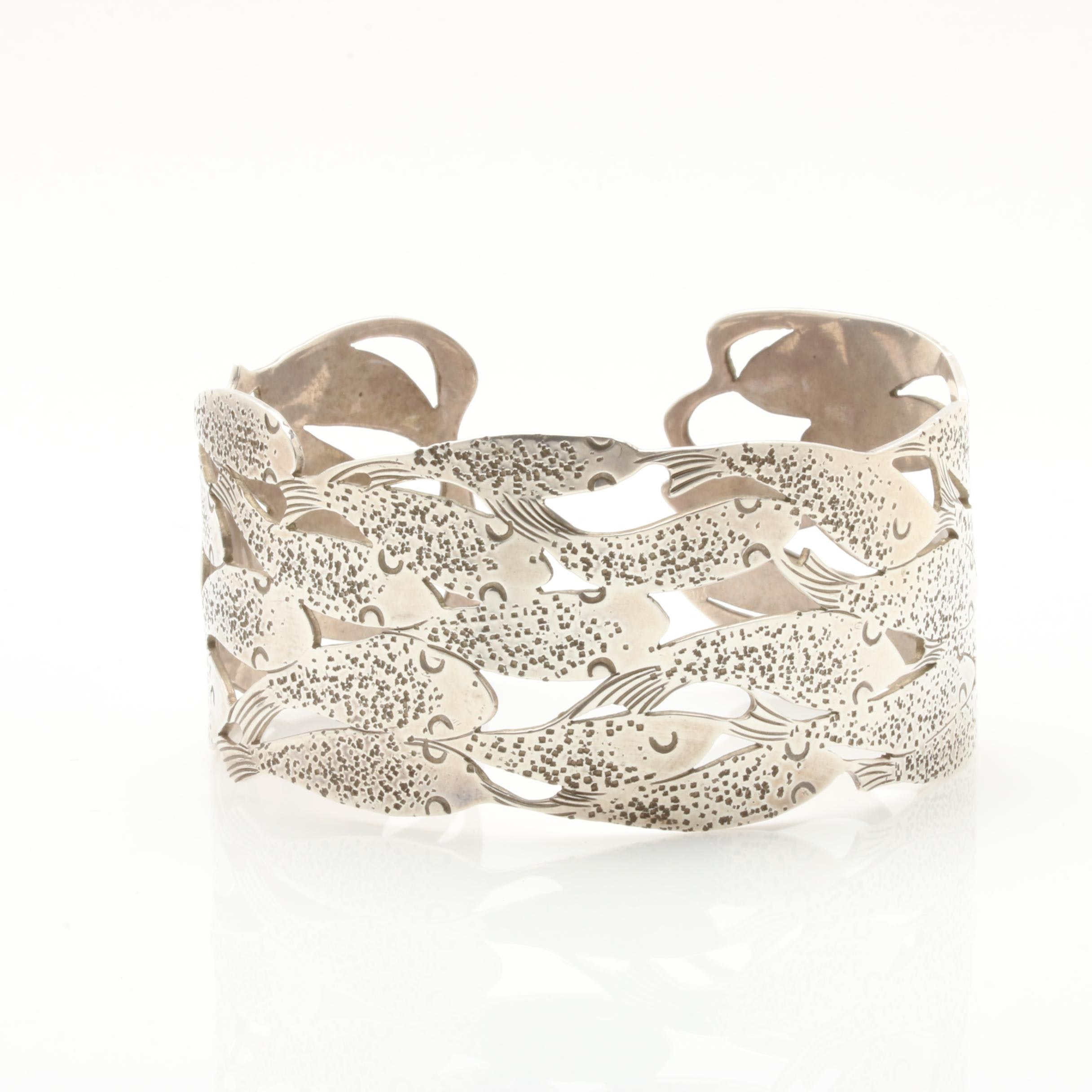 Sterling Silver School of Fish Cuff Bracelet