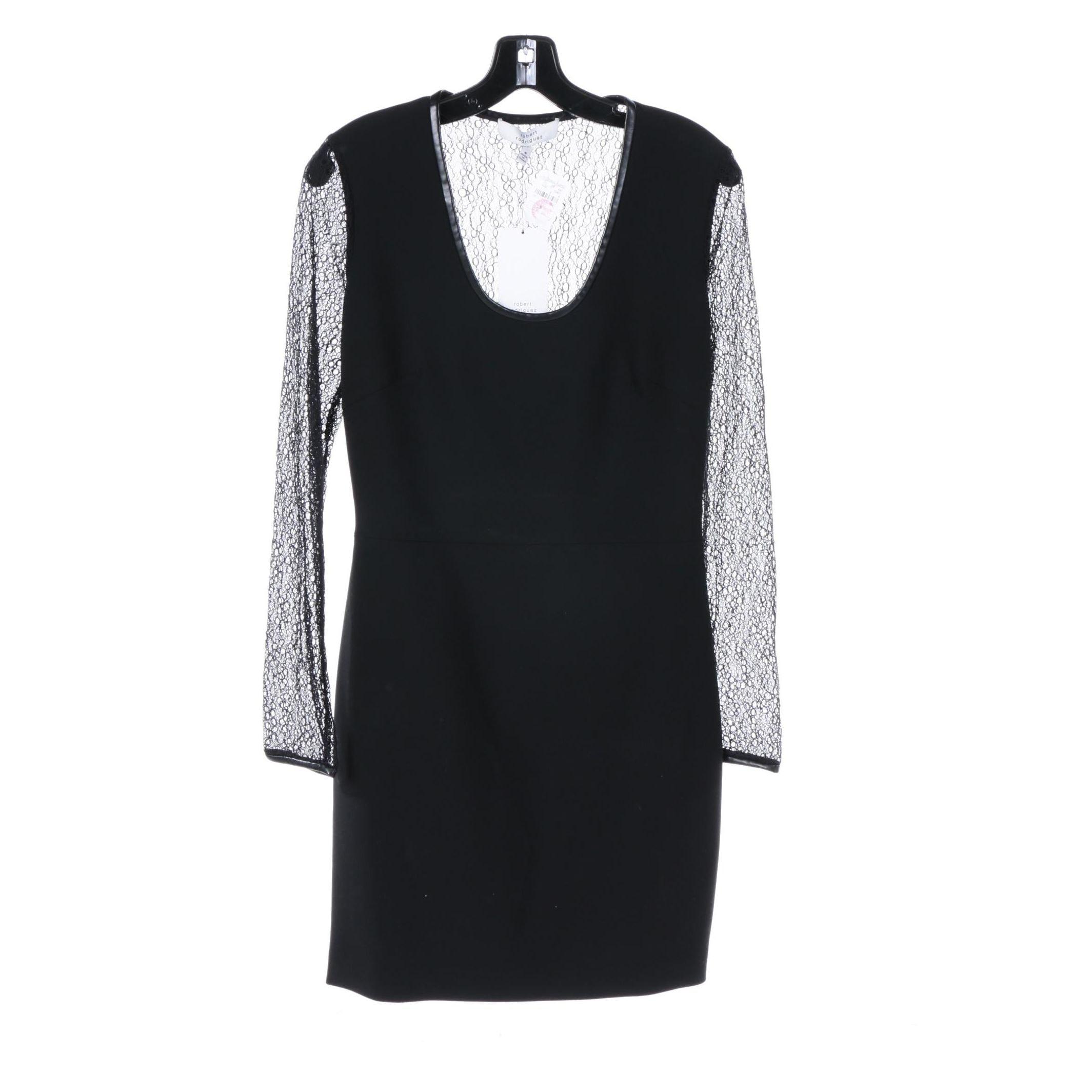 Robert Rodriguez Little Black Dress with Lace Mesh