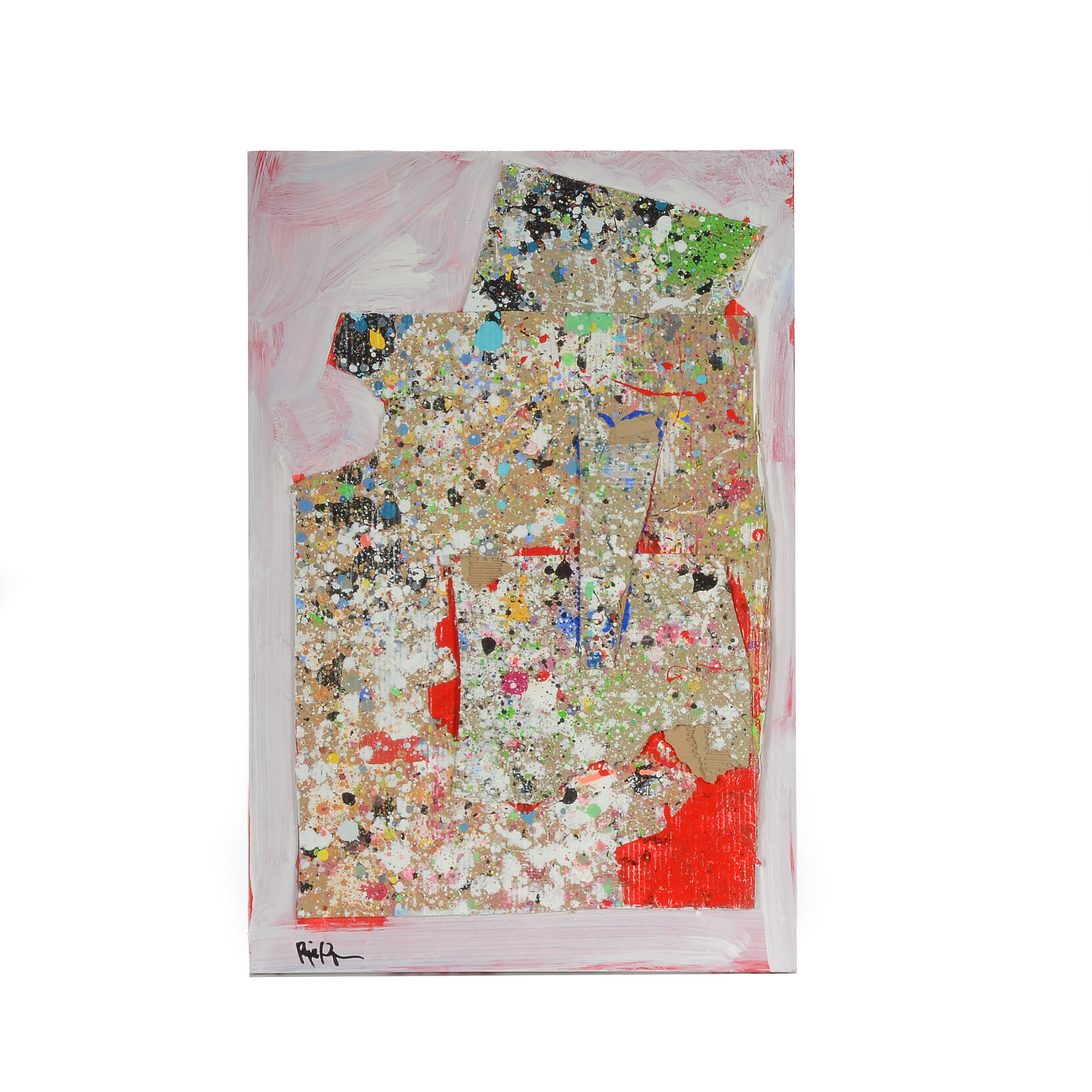 """Robbie Kemper Abstract Mixed Media Painting """"Spotty Corrugated"""""""
