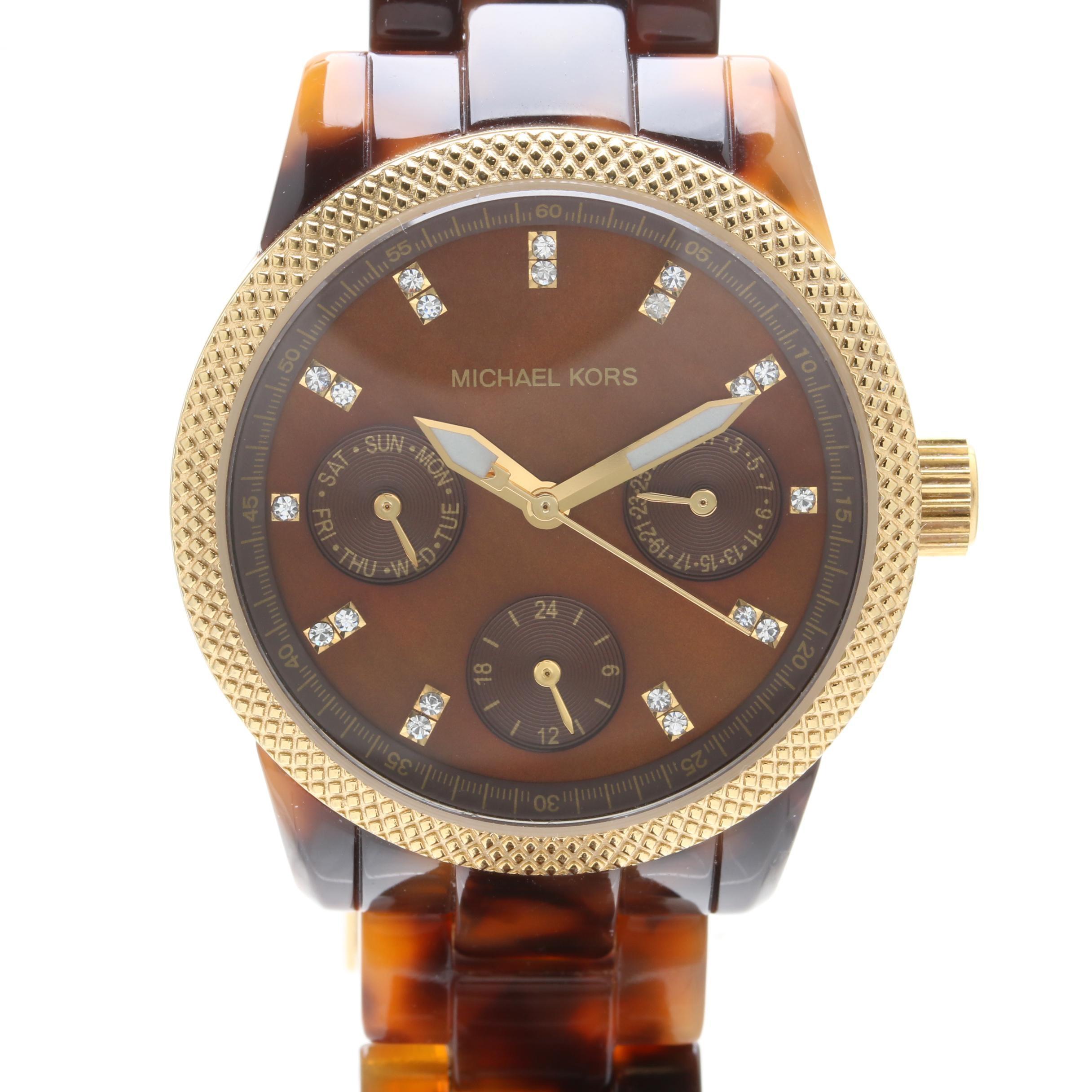 Michael Kors MK-5399 Mother of Pearl Mini Tortoise Acrylic Wristwatch