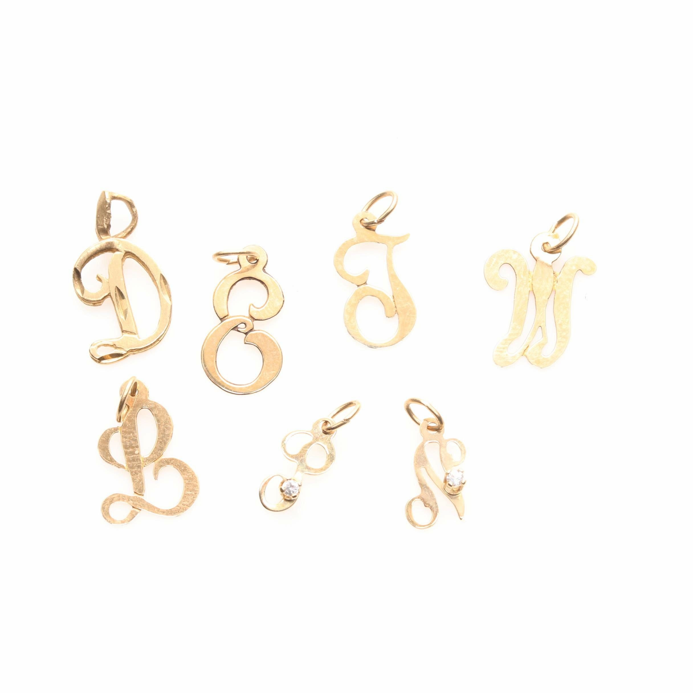 14K Yellow Gold Monogram Charms Including Cubic Zirconia and Michael Anthony