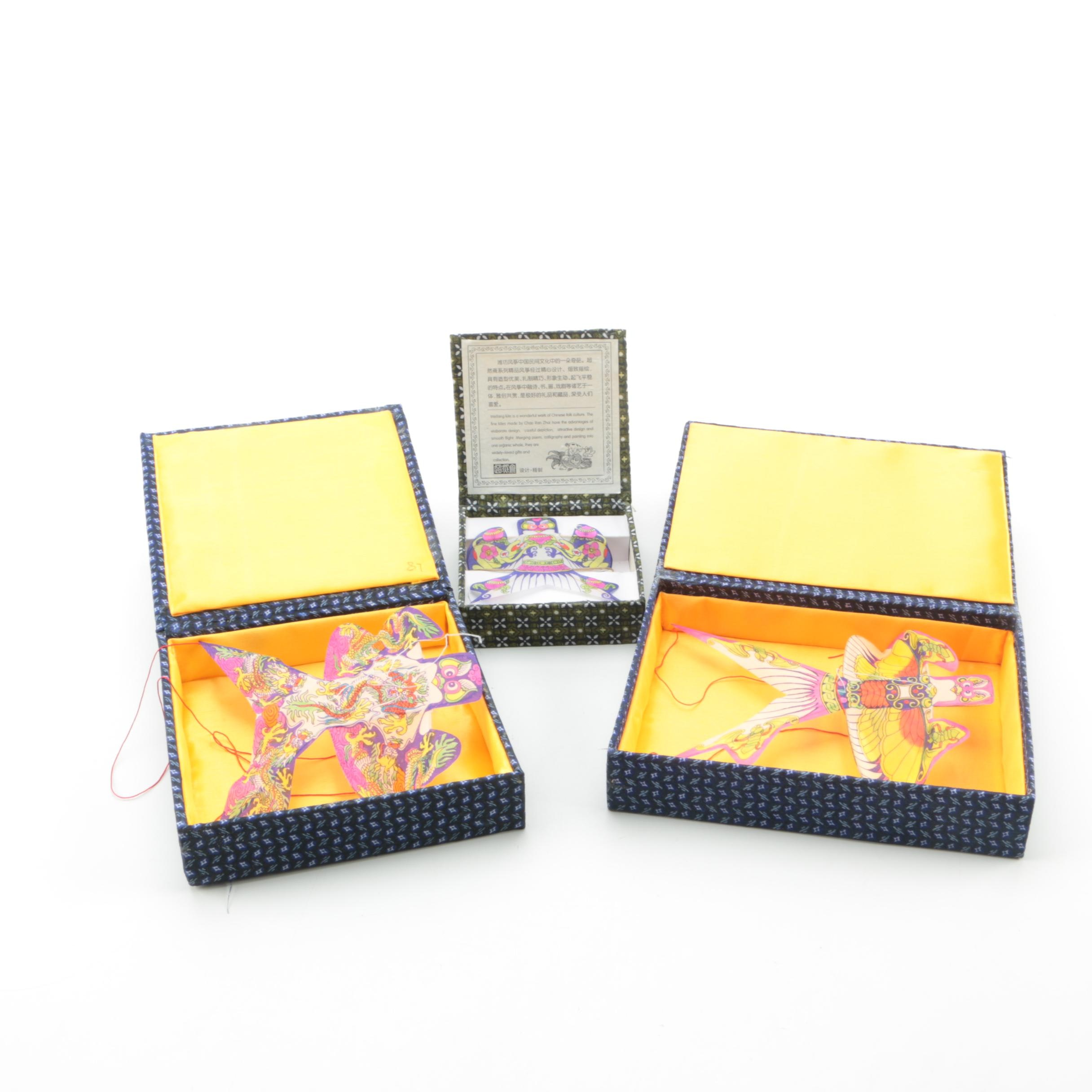 Chinese Decorative Fabric Kites in Boxes