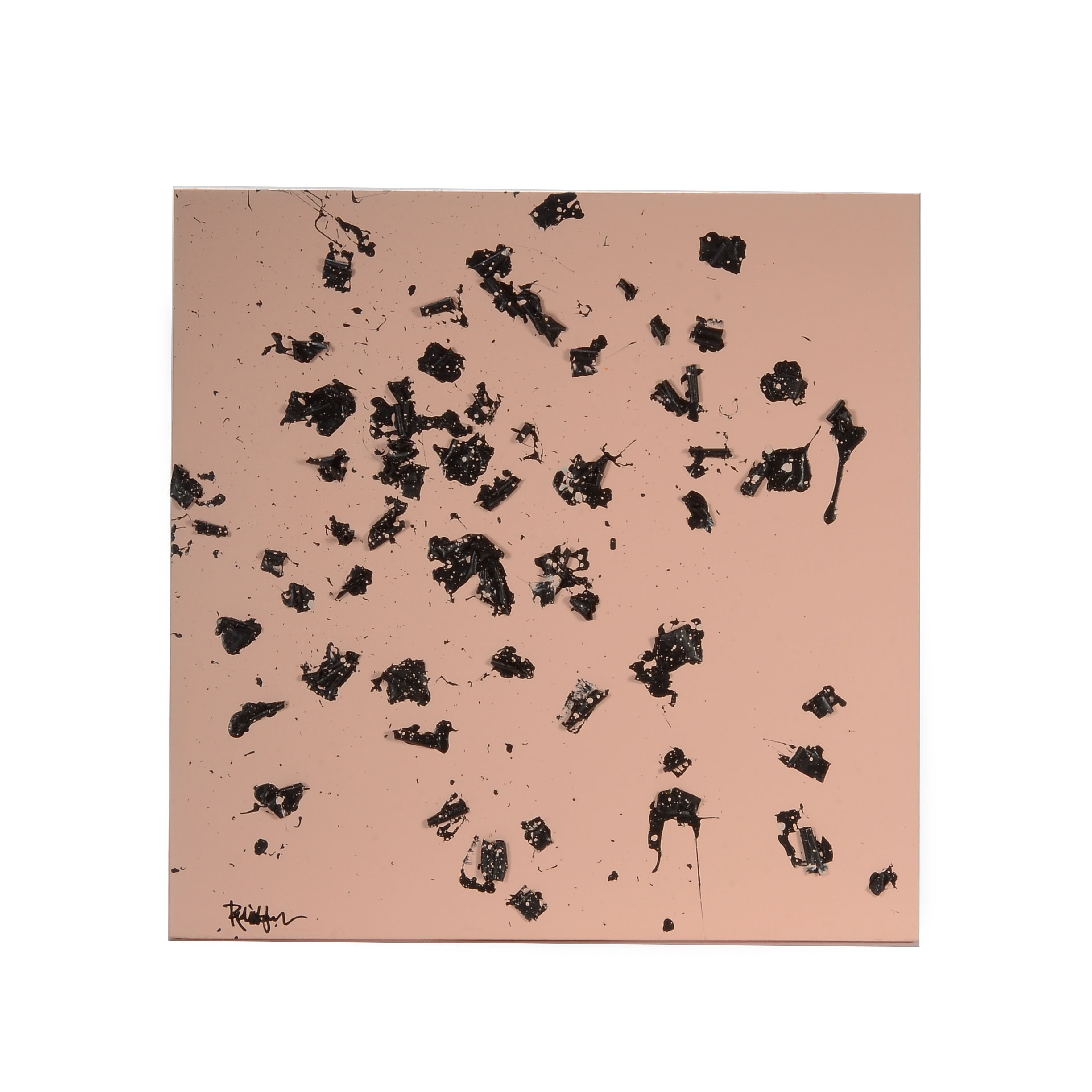 """Robbie Kemper Abstract Mixed Media Painting """"Black Curly Bits on Peach"""""""