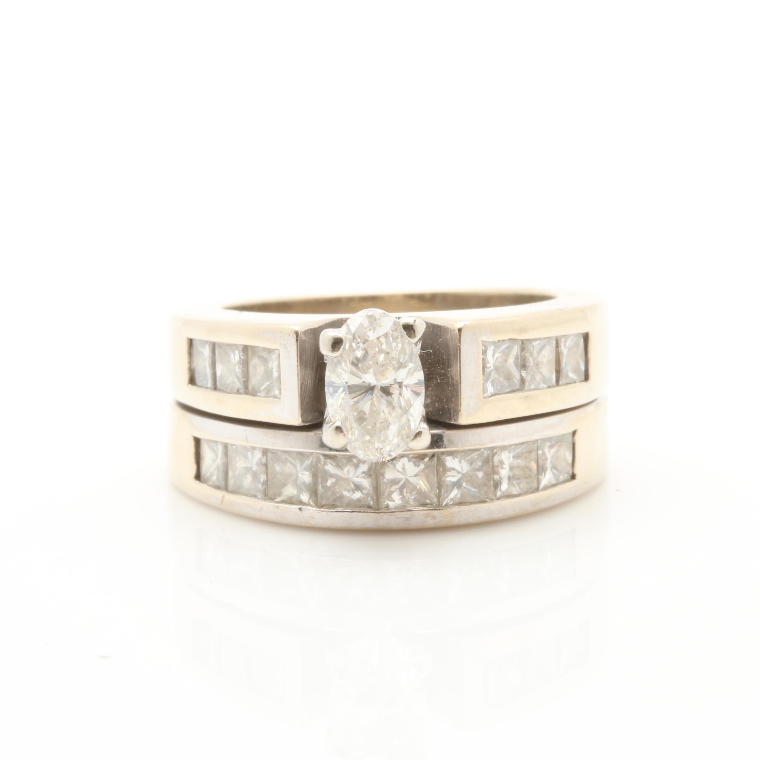 18K White Gold 2.02 CTW Diamond Ring Set