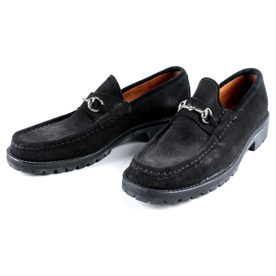 429da4e0b90 Women s Gucci Horsebit Black Suede Loafers with Lug Soles