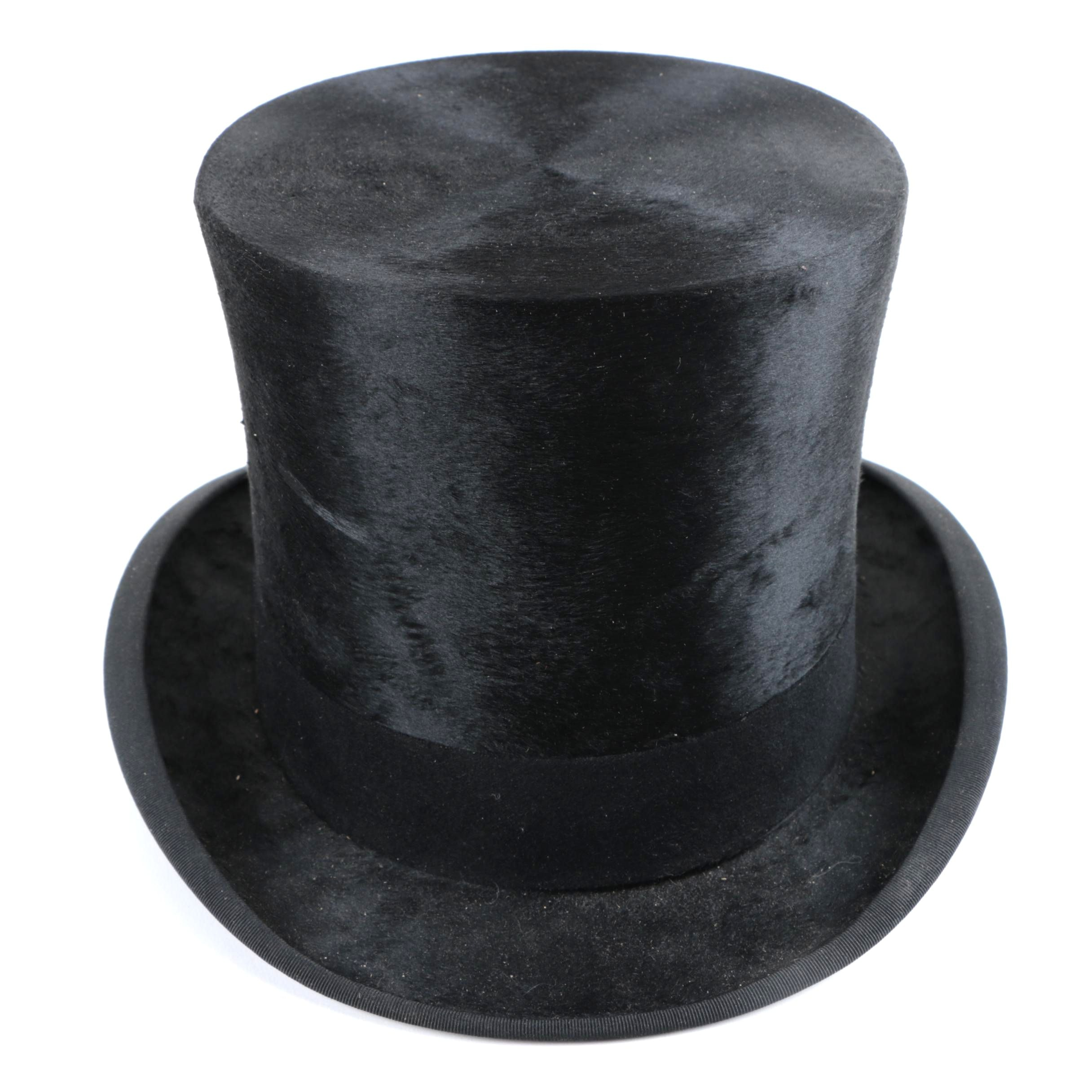 Victorian Collins & Fairbanks Black Felted Beaver Fur Top Hat and Box