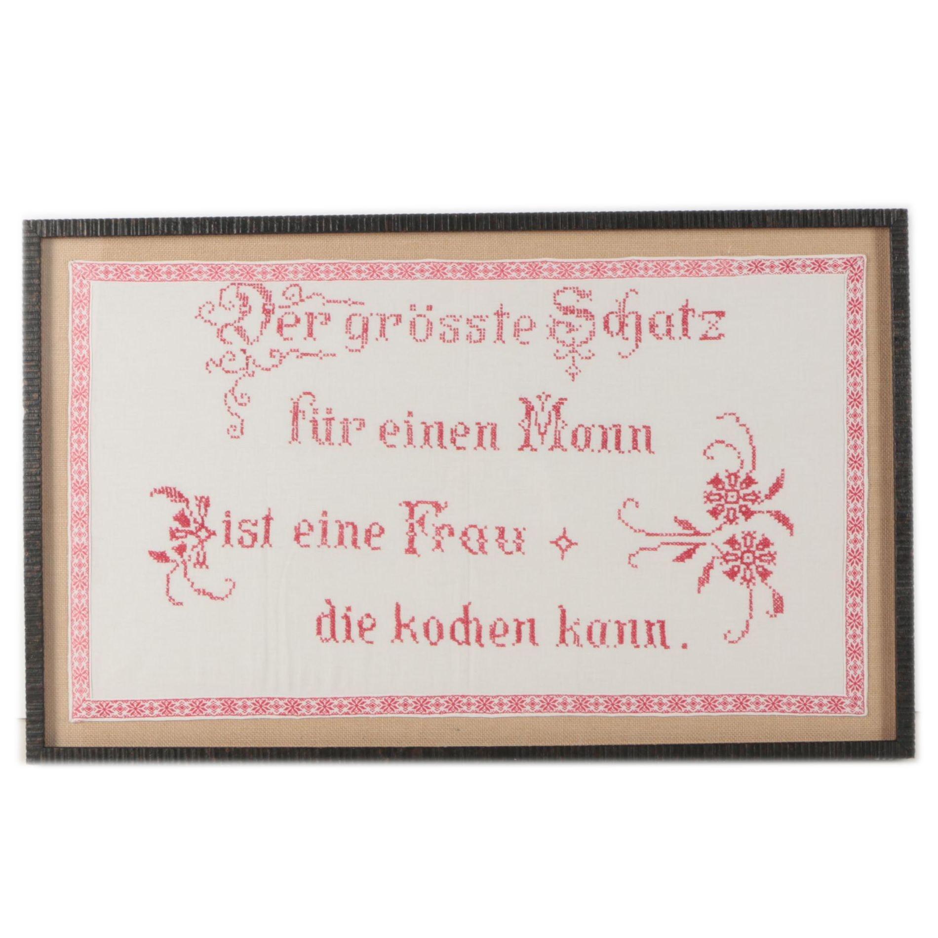 Cross Stitch Sampler of German Phrase