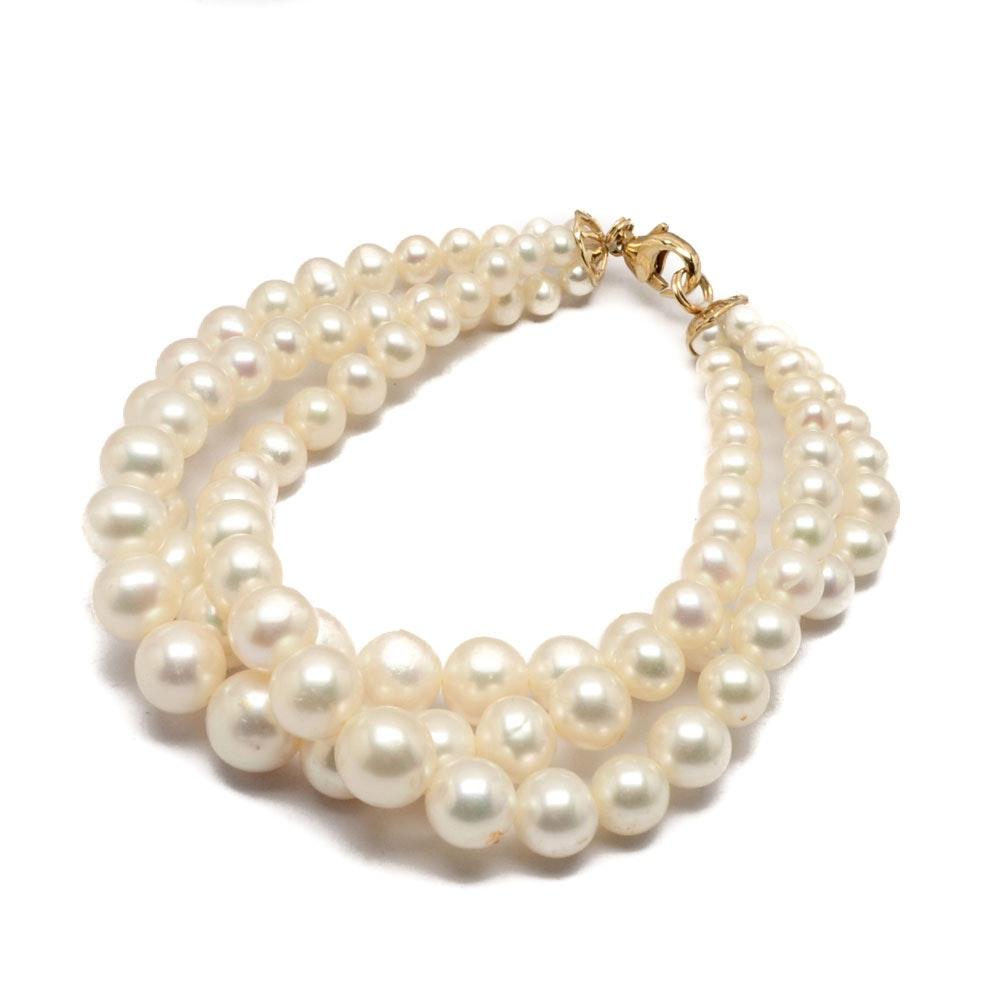14K Gold Triple-Strand Pearl Bracelet