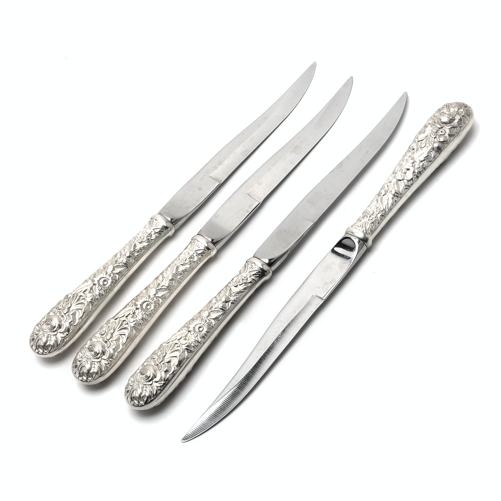 """Four Kirk Steiff """"Repousse"""" Steak Knives with Sterling Silver Handles"""