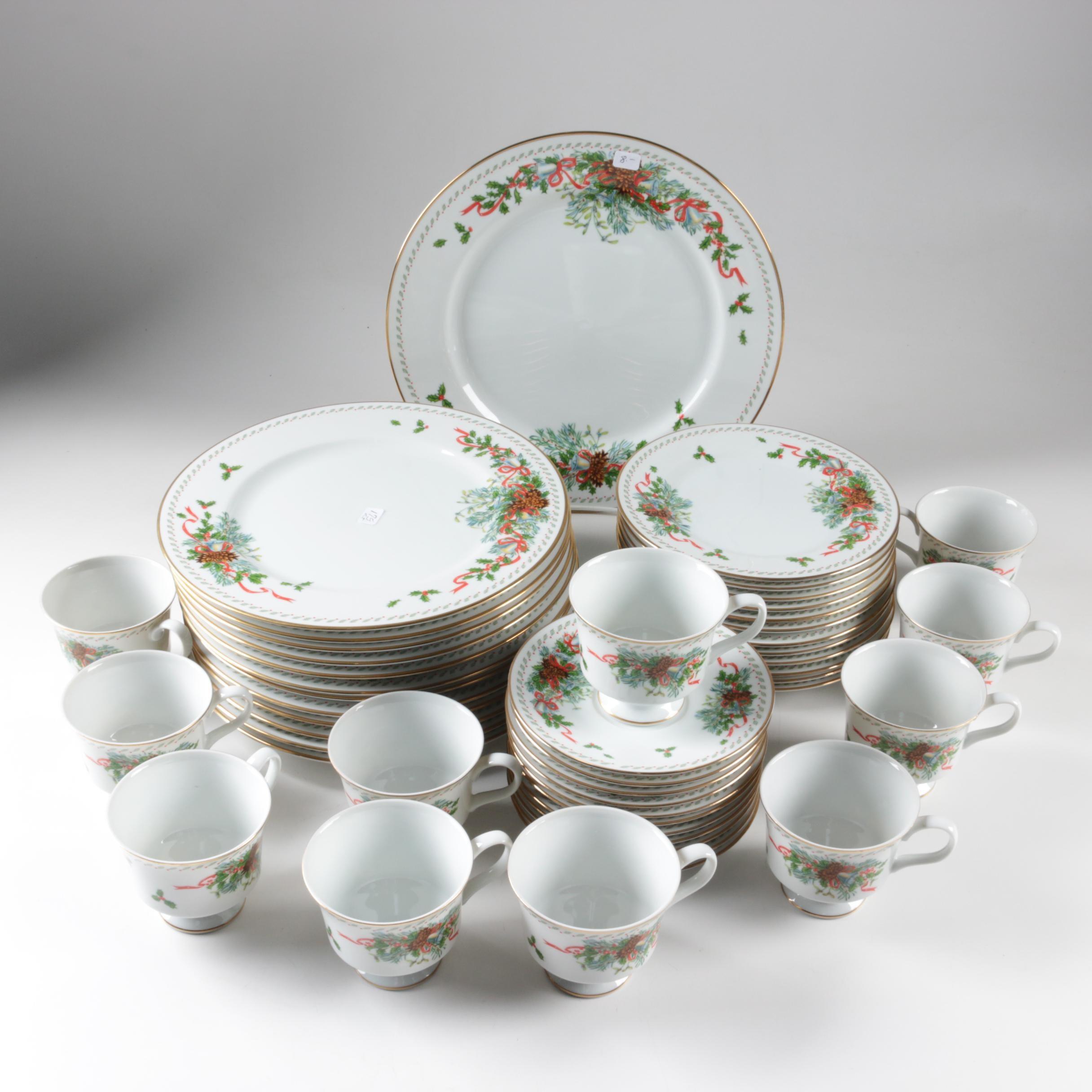 """Franklin Porcelain """"Deck The Halls"""" Tableware"""