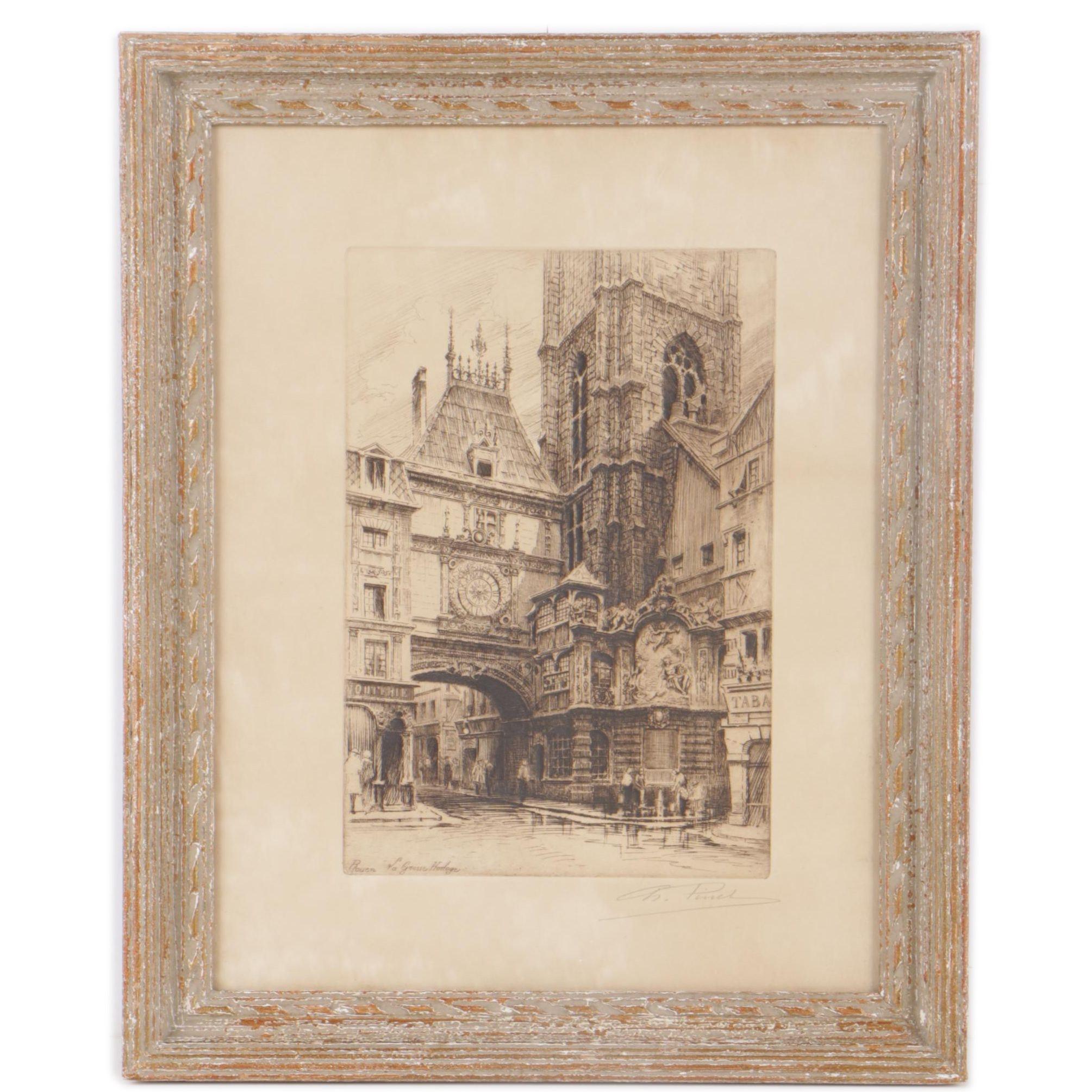 "Charles Pinet Etching ""Rouen - La Grosse Horloge"""