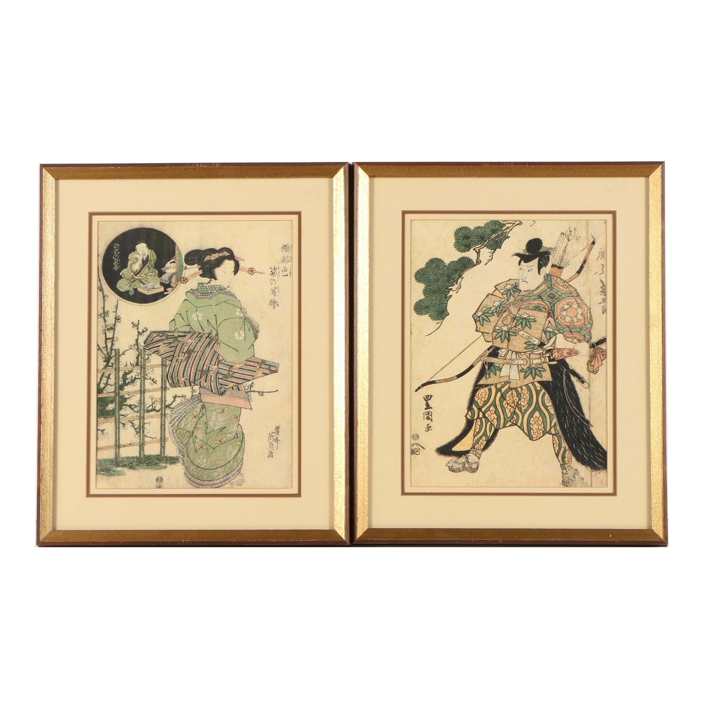 "Offset Lithographs After Woodblocks Including Utagawa Toyokuni's ""Onoe Kikugorô"""