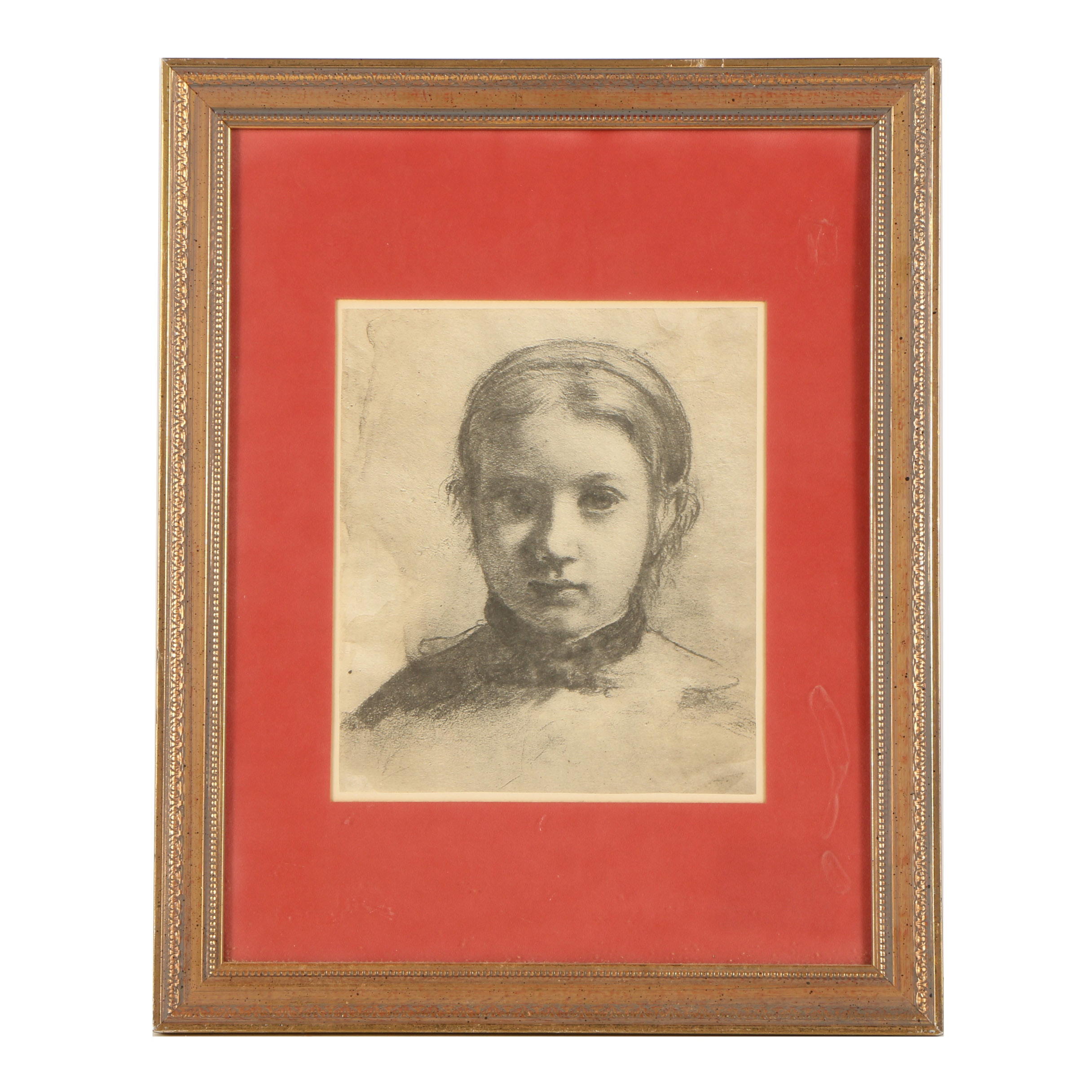 "Halftone Print After Edgar Degas ""Portrait of Giovanna Bellelli"""