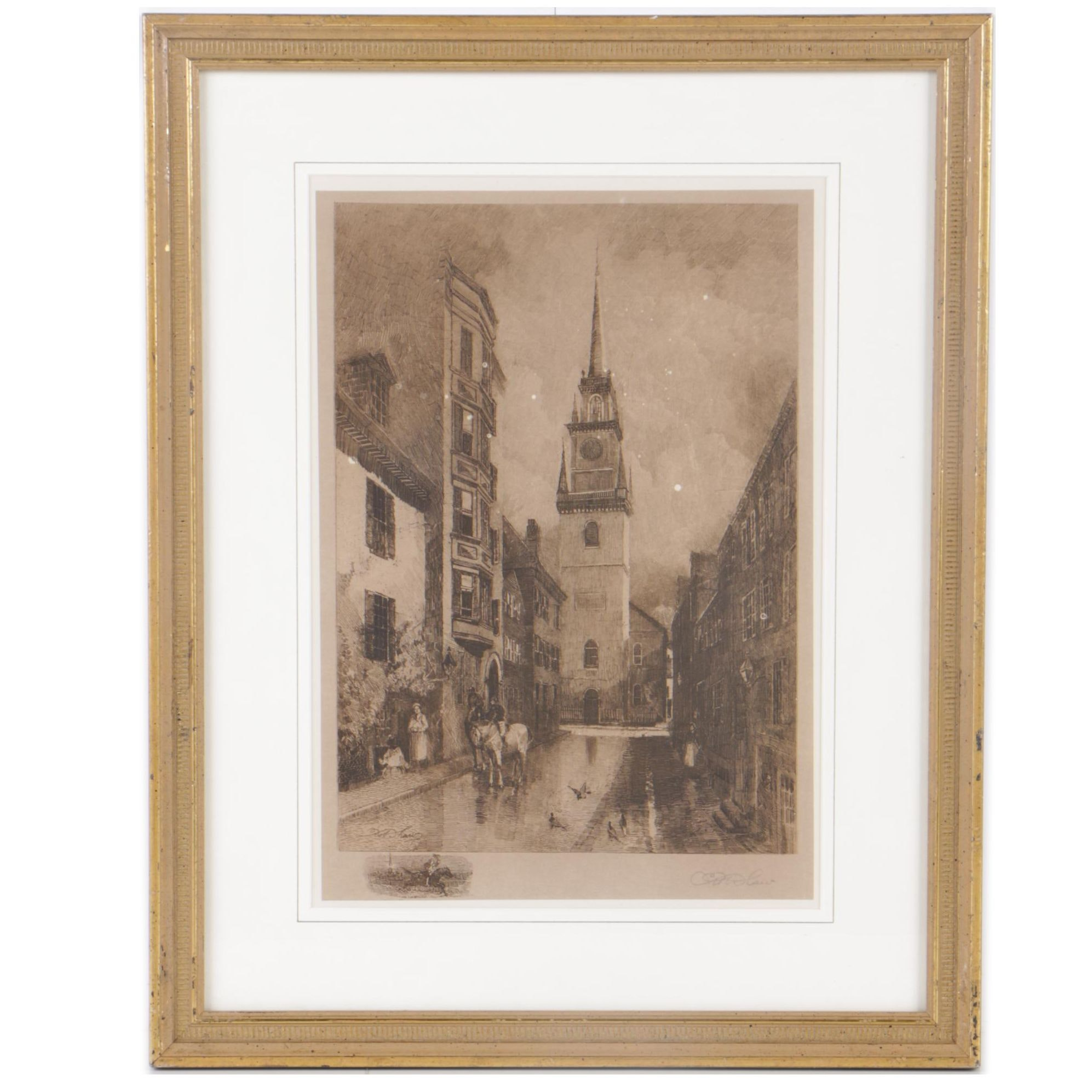 "Robert Shaw Etching ""The Old North Church"""