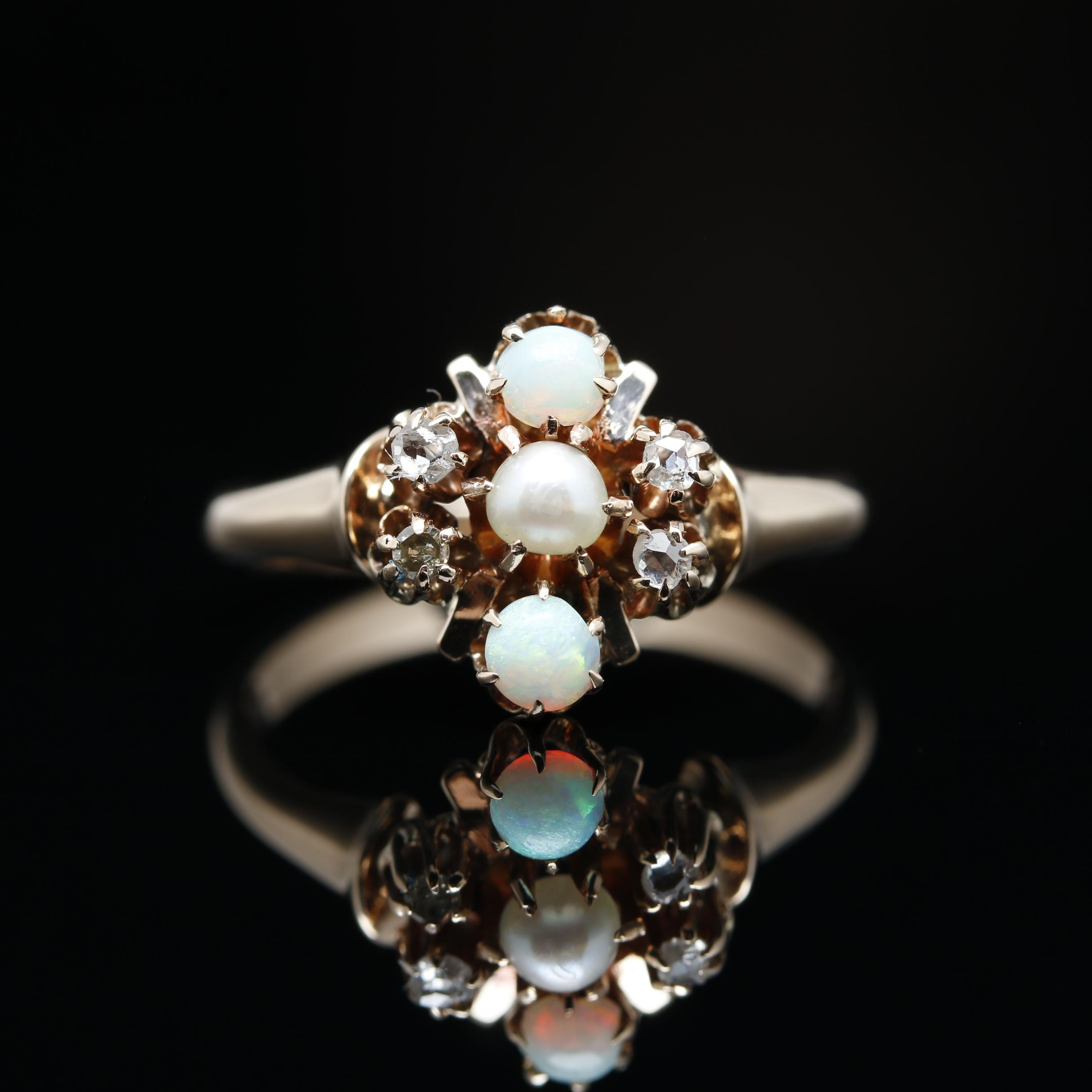 Ostby & Barton 10K Yellow Gold Cultured Pearl, Opal and Diamond Ring