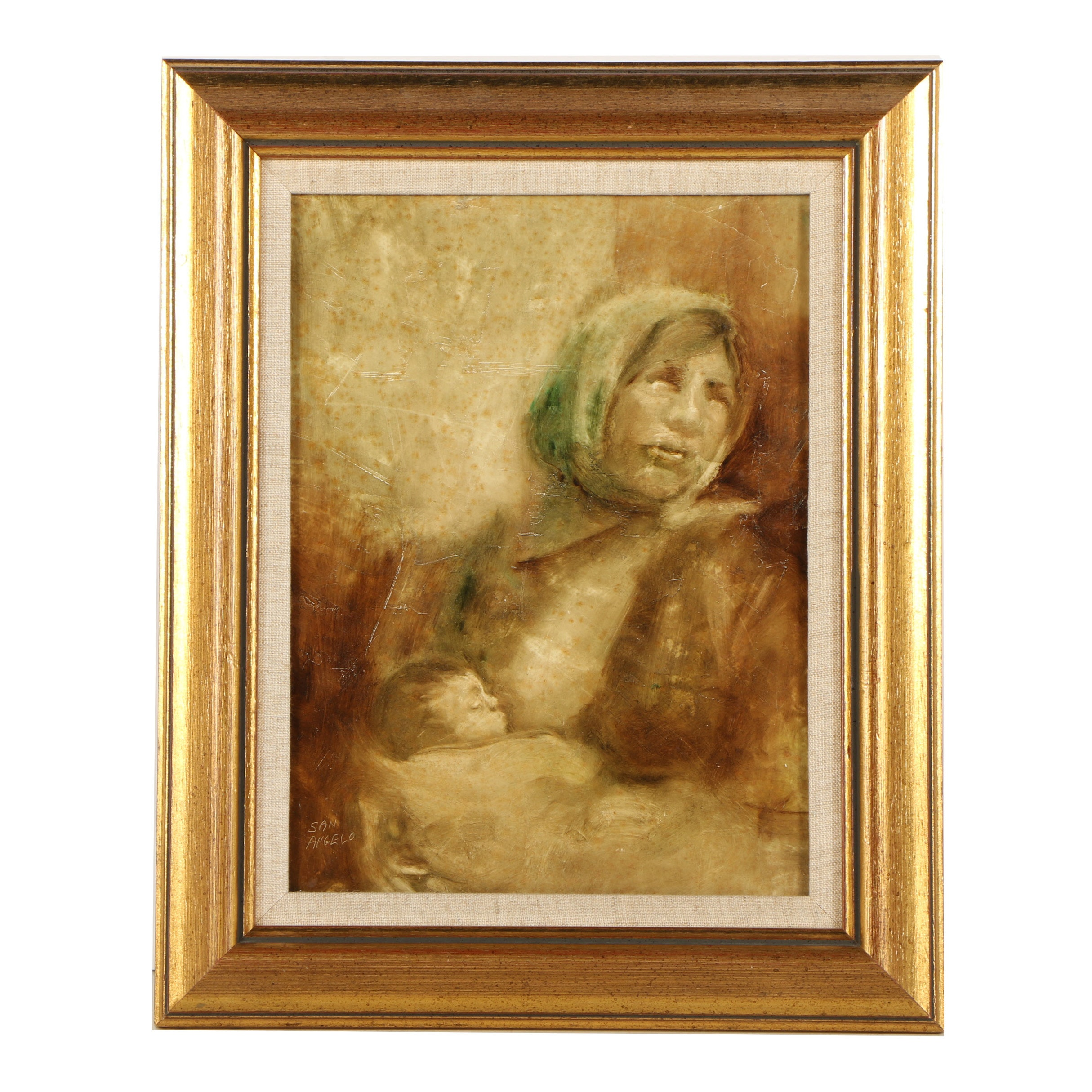 San Angelo Oil Painting of a Peasant Mother