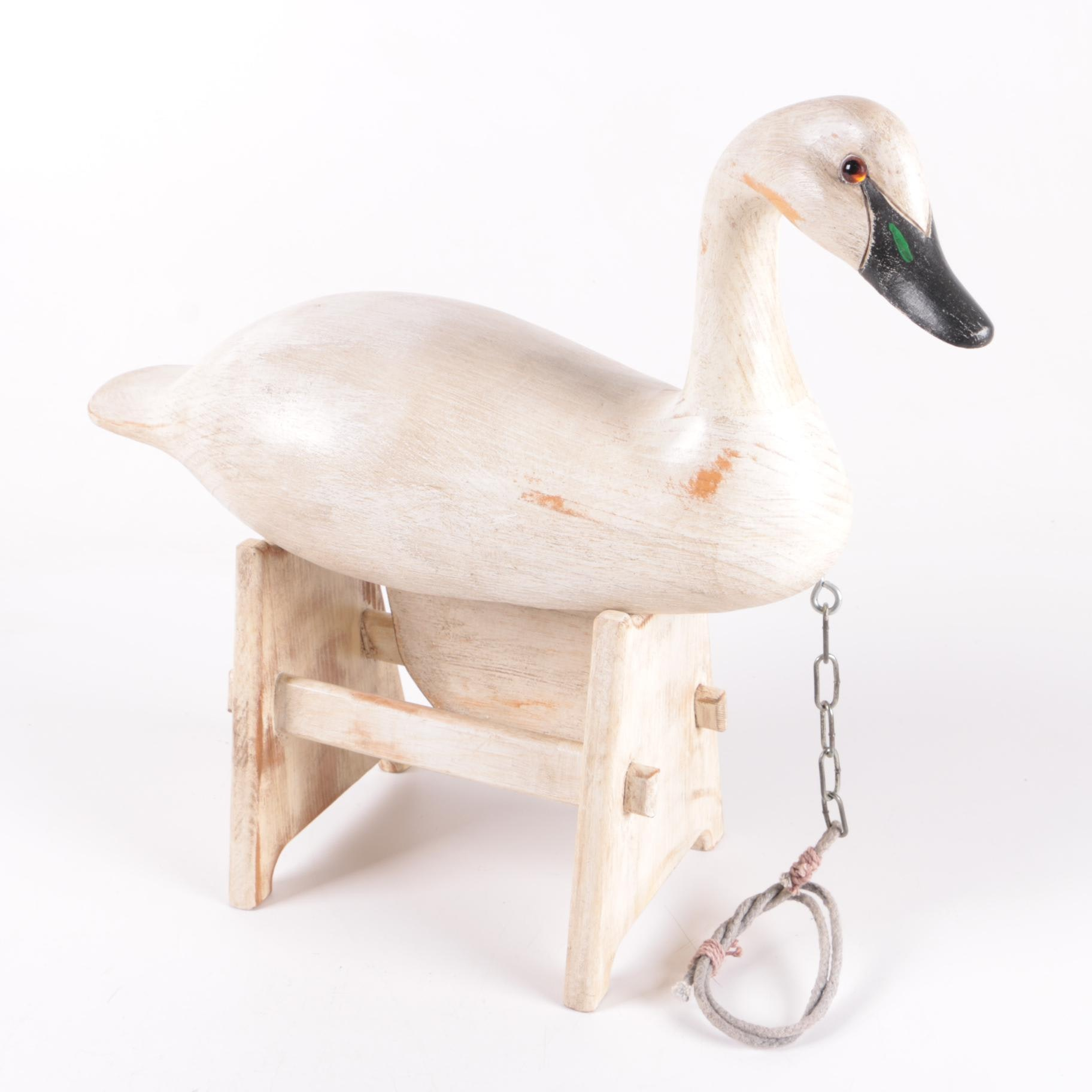 1990 Signed Wooden Swan Decoy with Stand