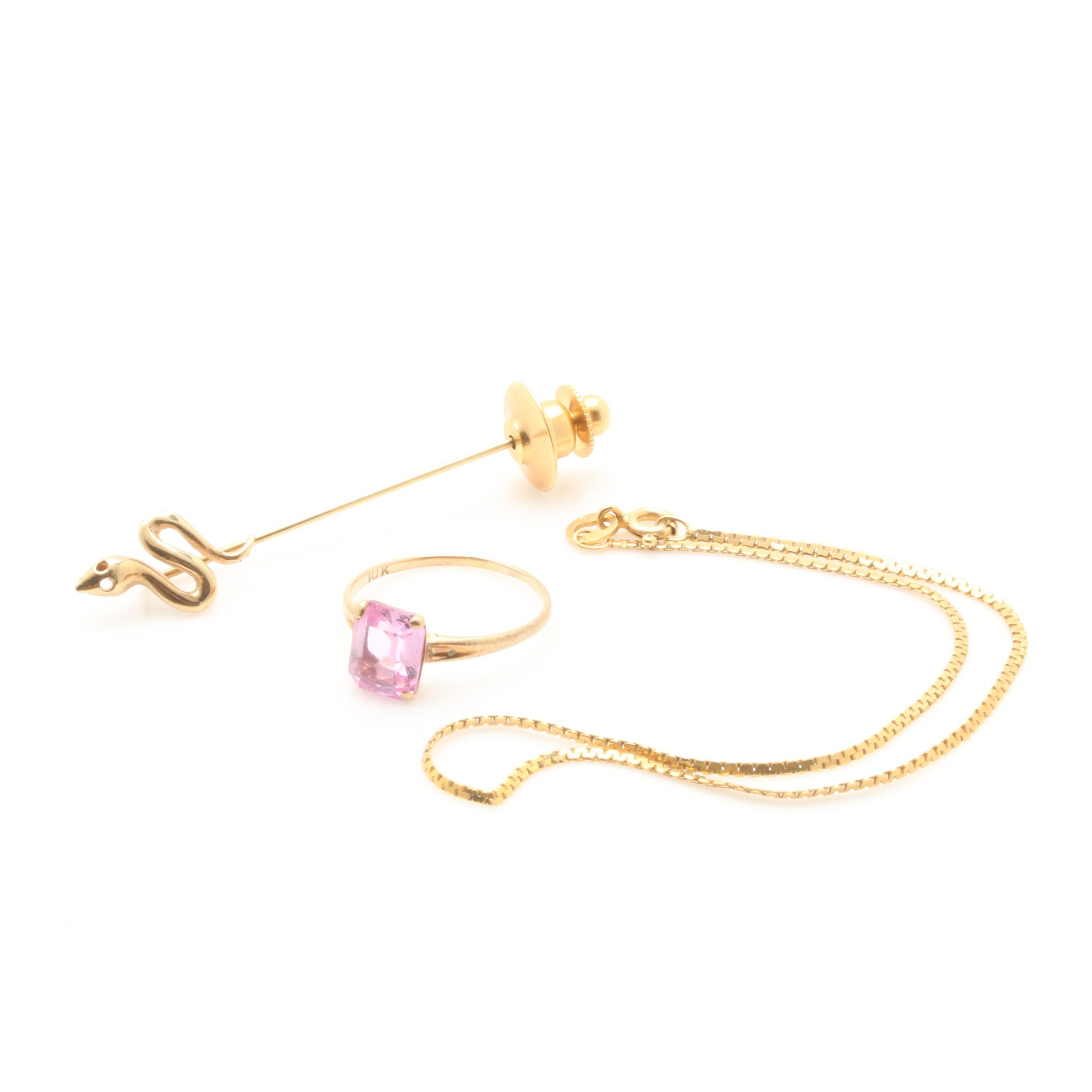 14K Yellow Gold Stick Pin with 10K Bracelet and Synthetic Pink Sapphire Ring
