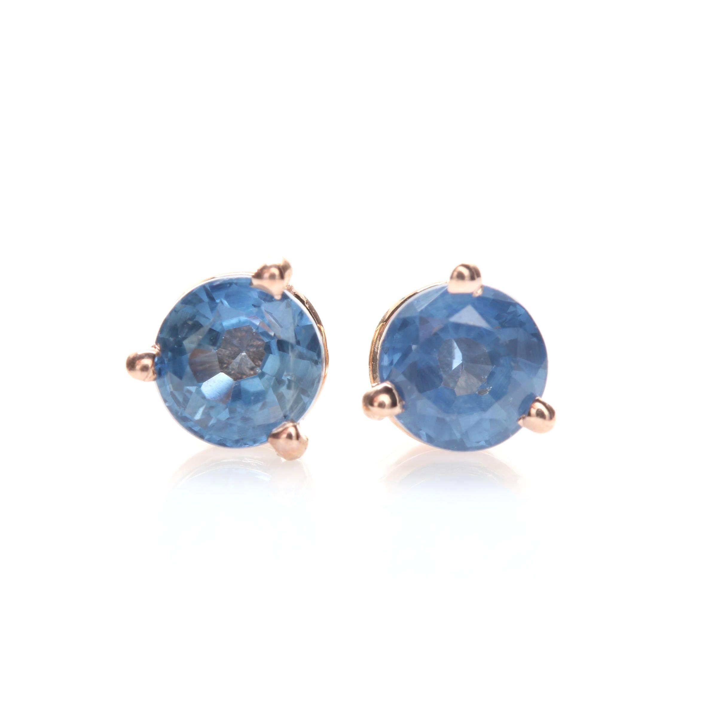 14K Rose Gold Blue Sapphire Stud Earrings
