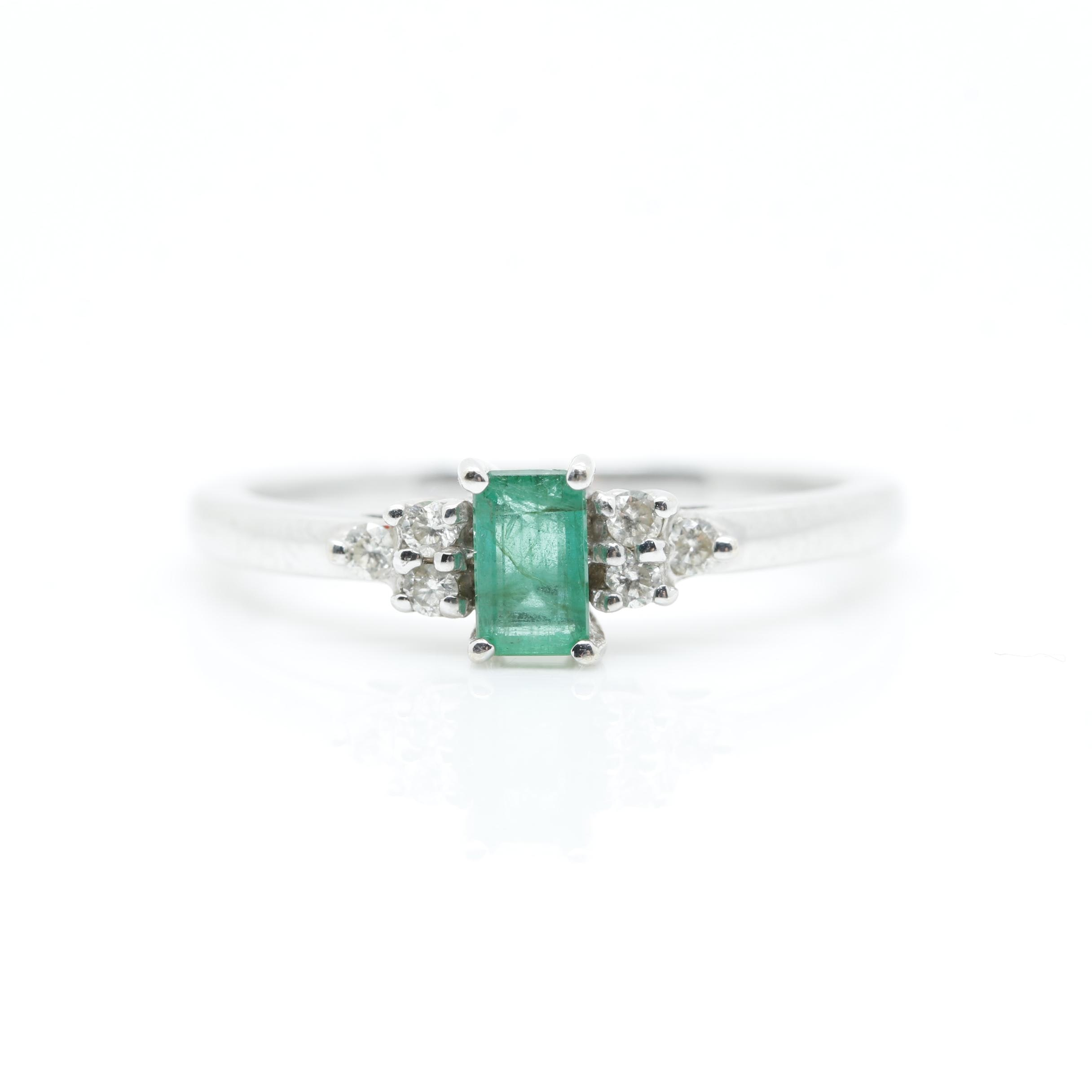 Effy 14K White Gold Emerald and Diamond Ring