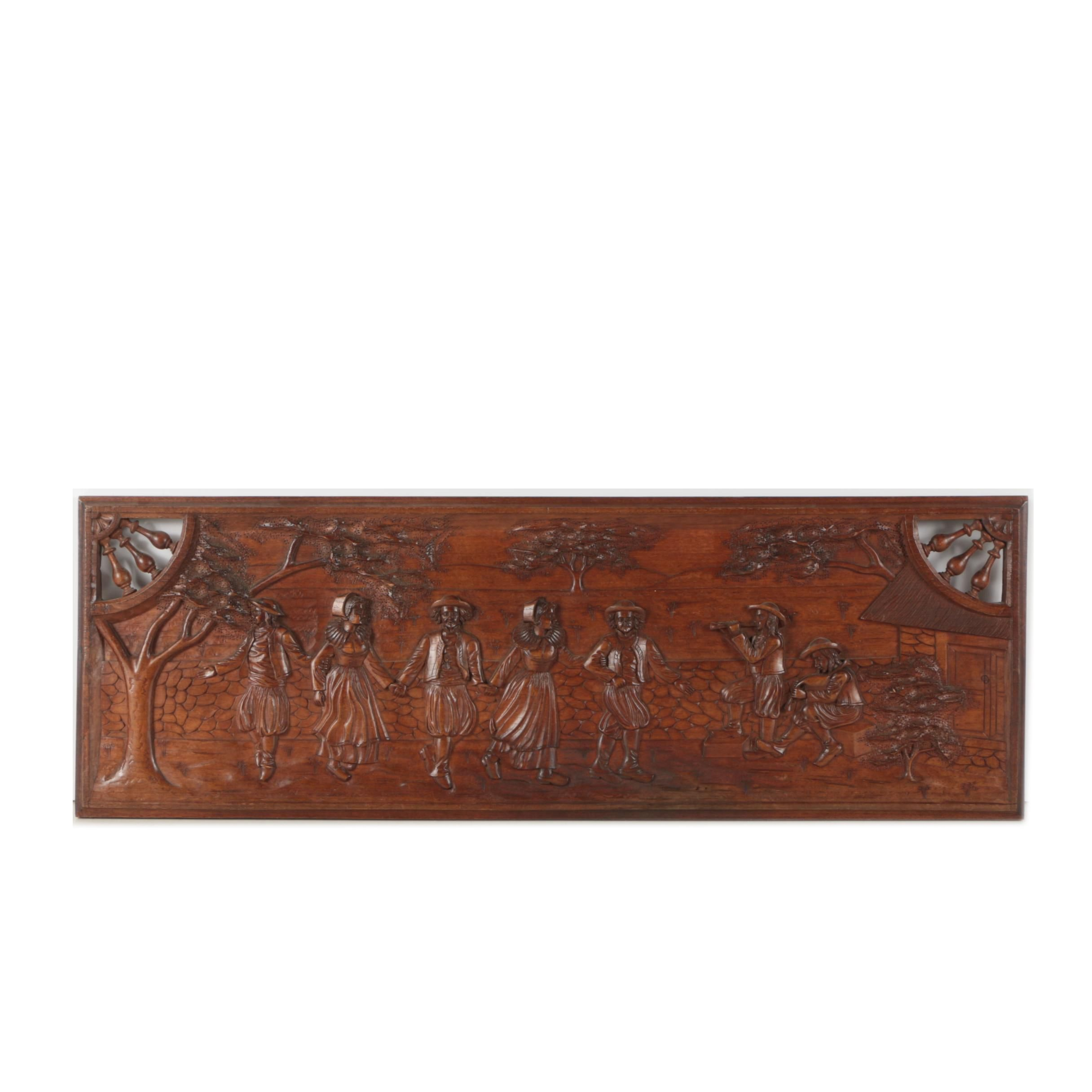 Hand-Carved Panel of Dancing Figures