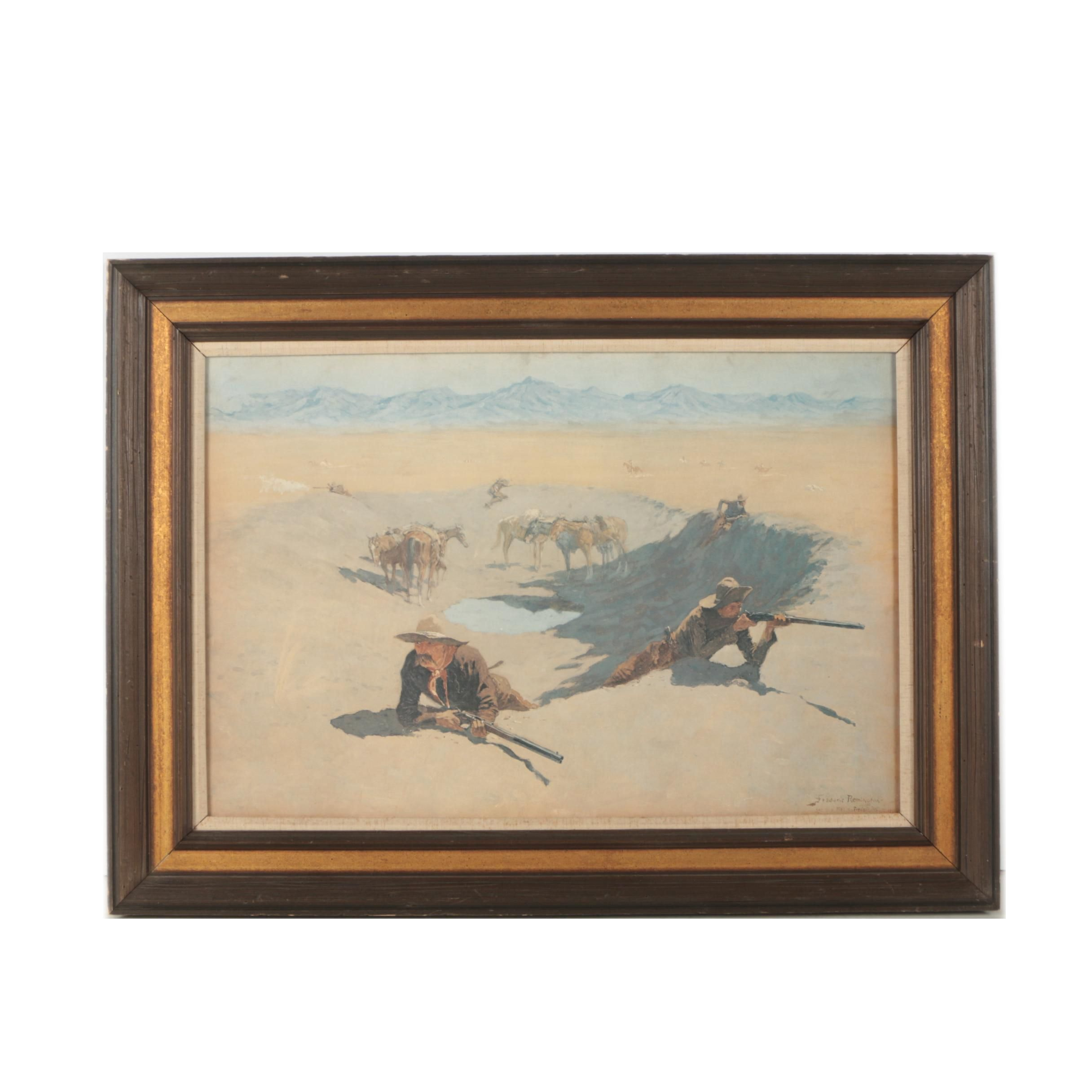"""Offset Lithograph After Frederic Remington """"Fight for the Watering Hole"""""""
