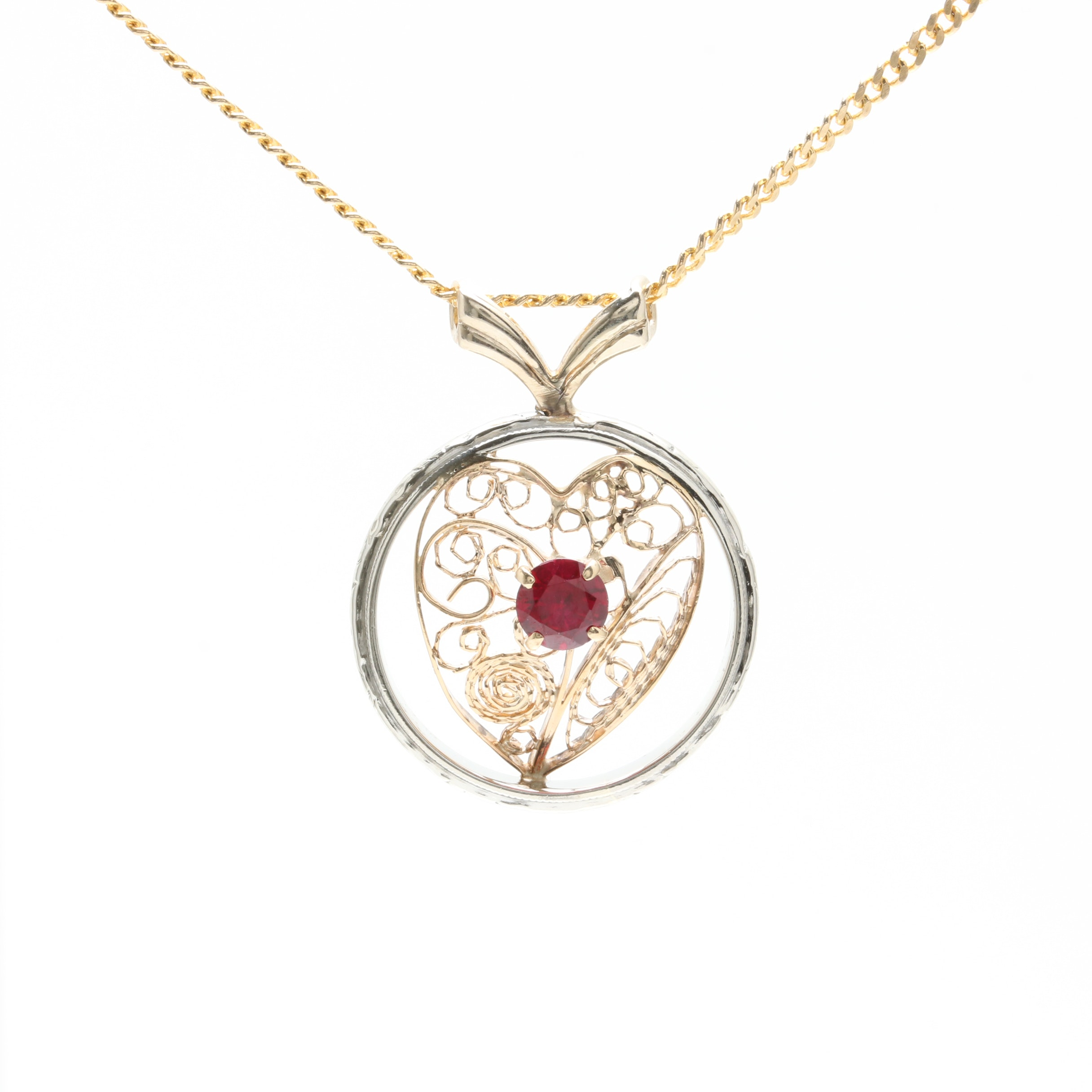 14K Yellow Gold Synthetic Ruby Heart Necklace with 18K White Gold Accents