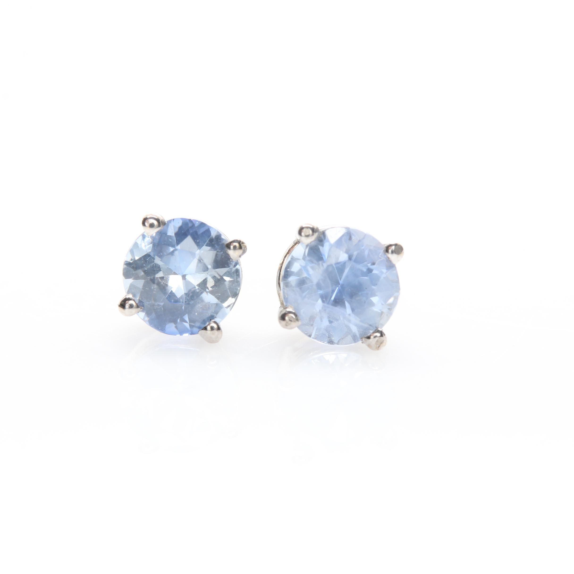 14K White Gold Blue Sapphire Earrings