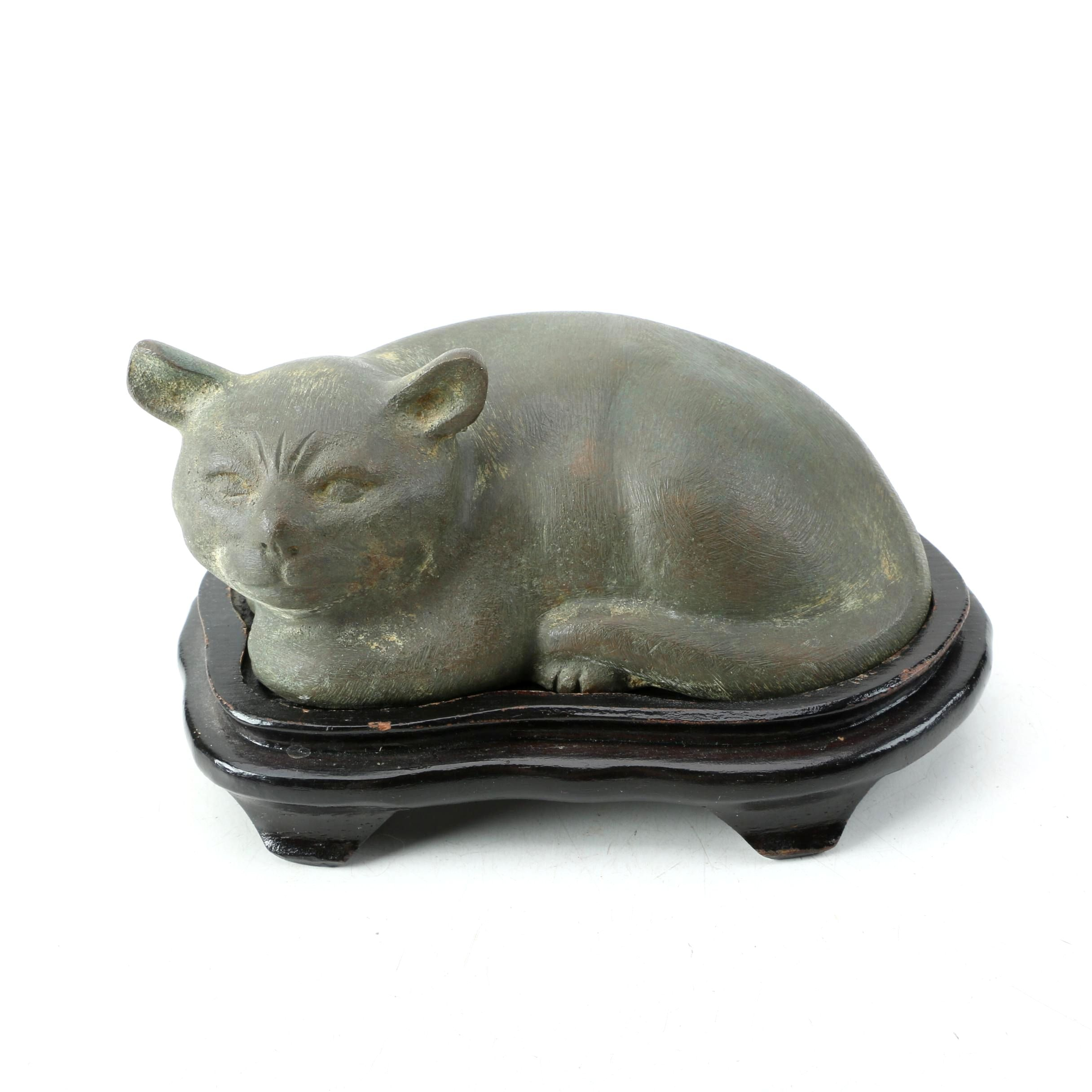Vintage Metal Cat Statuette