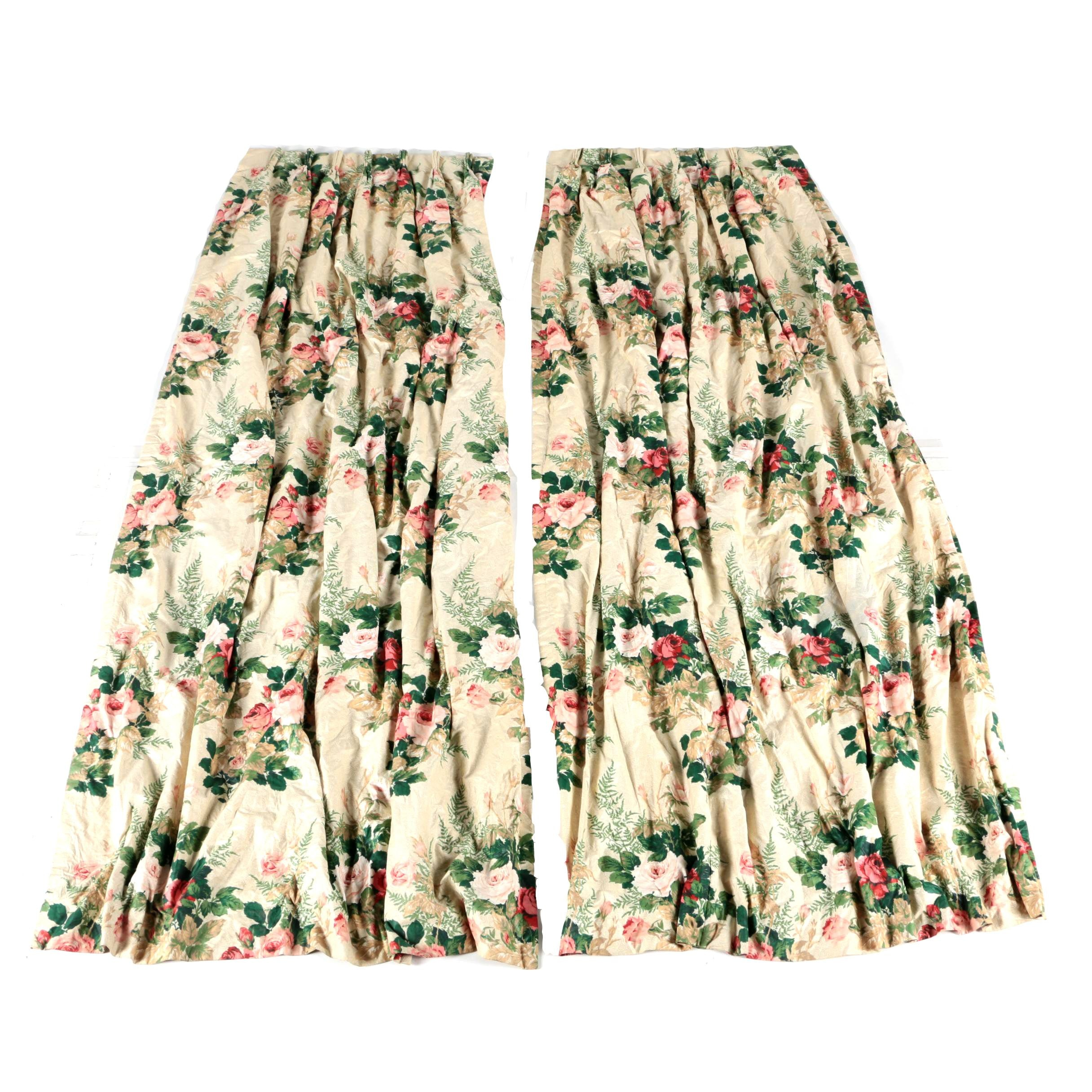 PInch Pleated Floral Drapes