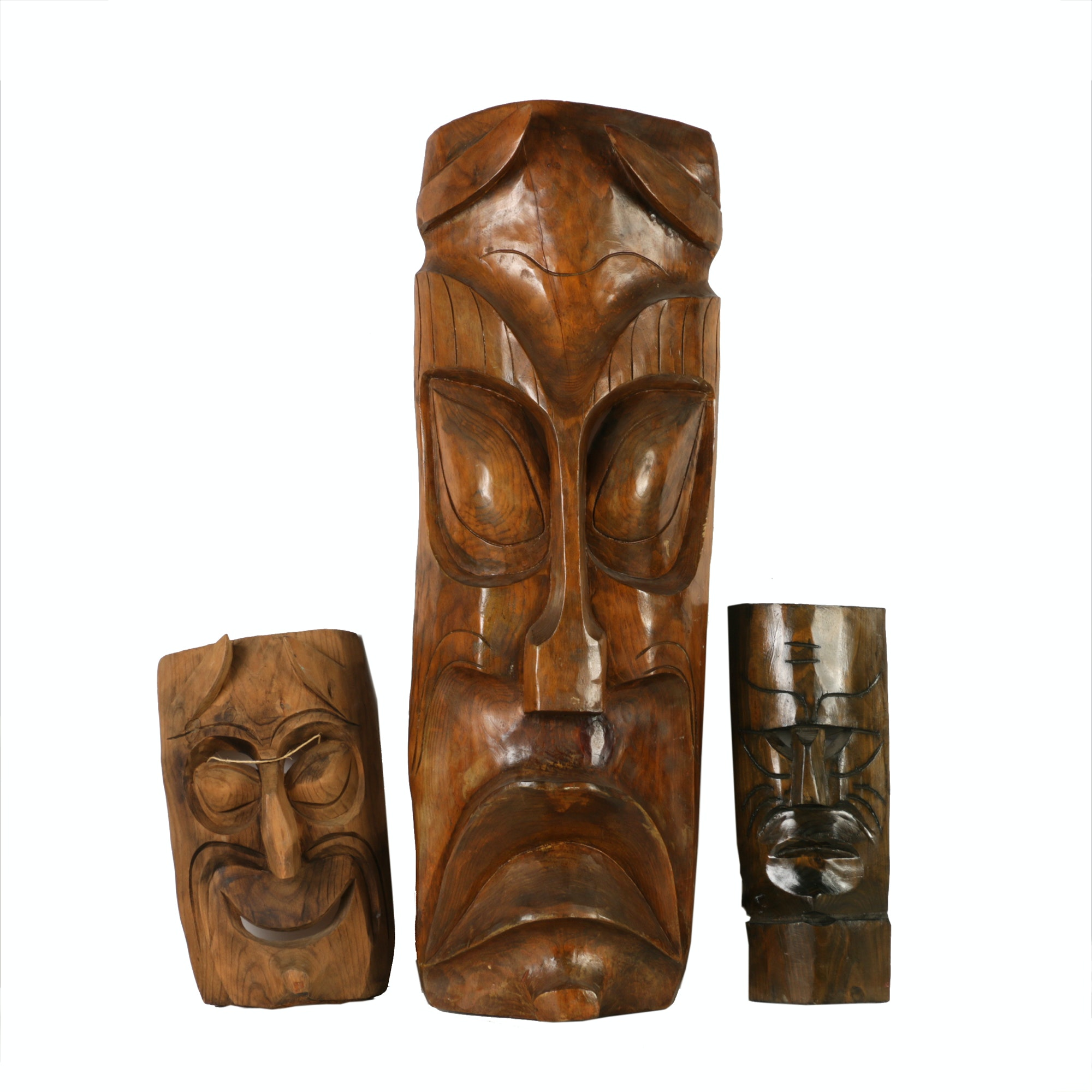 Japanese and Polynesian Style Wooden Masks