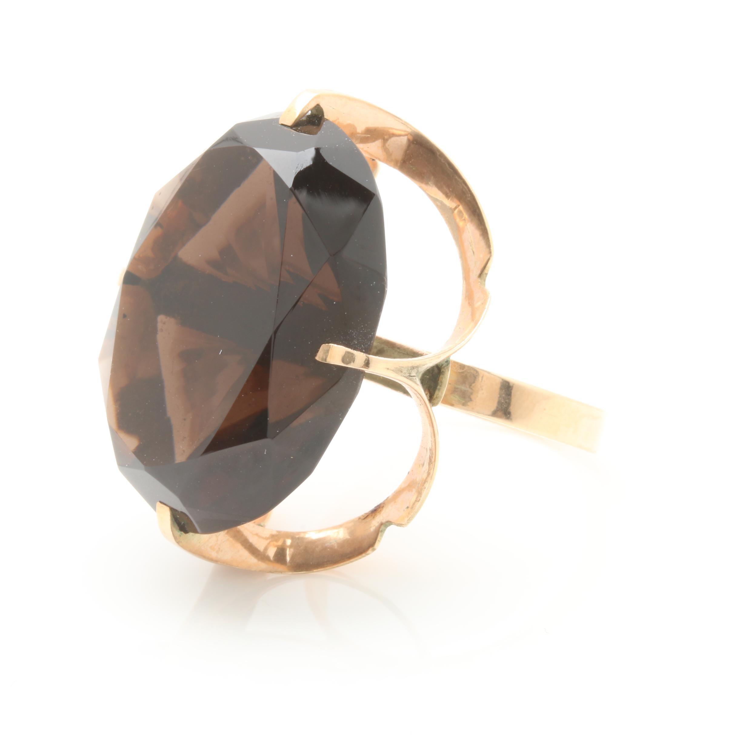 1960s - 1970s 14K Yellow Gold 33.16 CT Smoky Quartz Ring